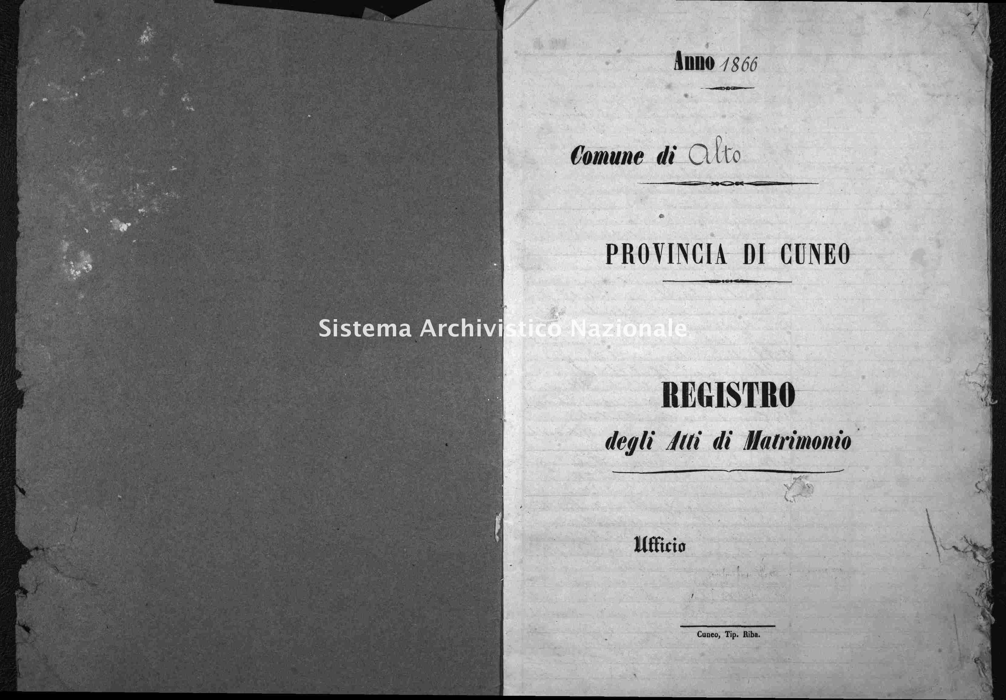 Archivio di stato di Cuneo - Stato civile italiano - Alto - Matrimoni - 1866 -
