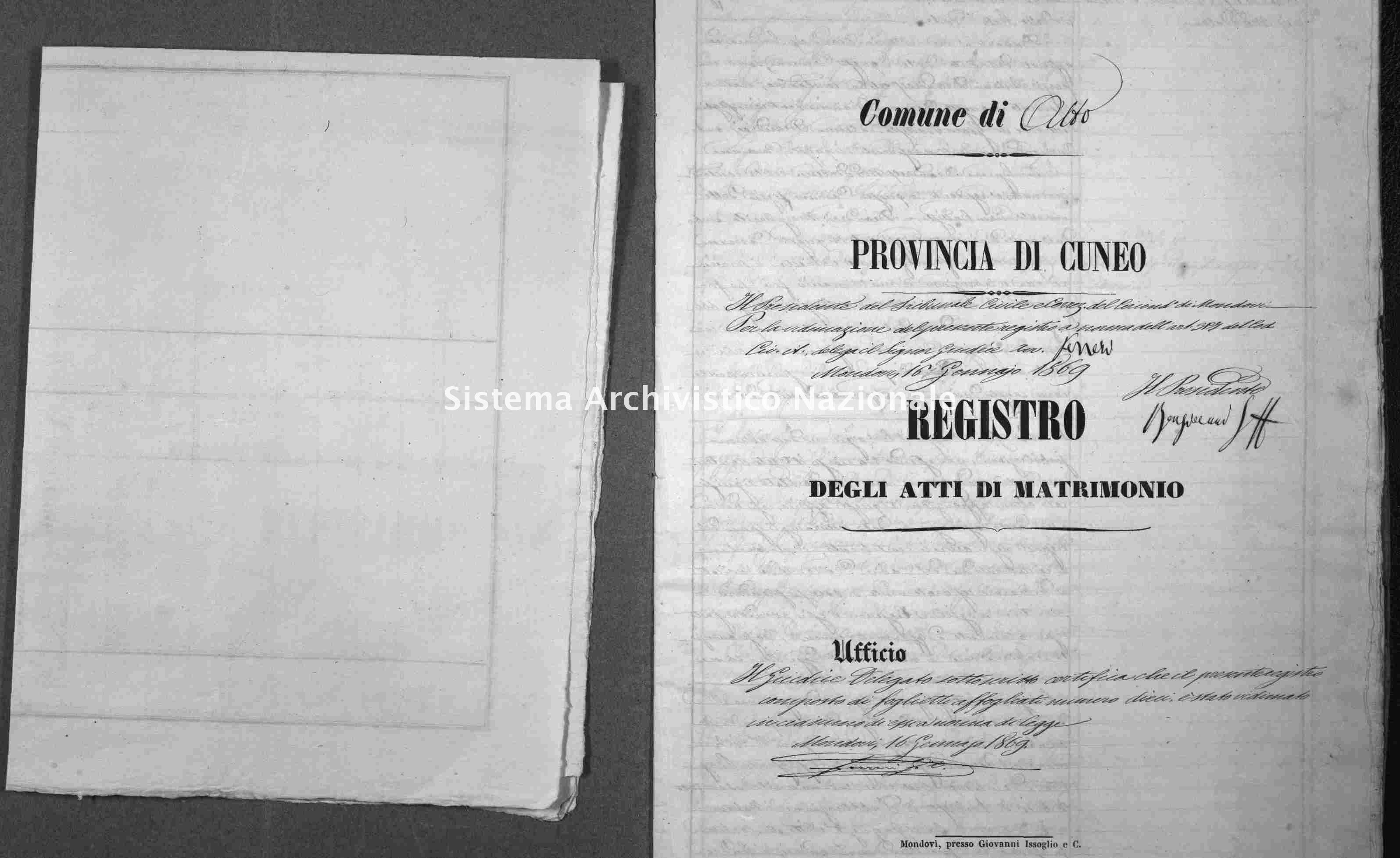 Archivio di stato di Cuneo - Stato civile italiano - Alto - Matrimoni - 1869 -