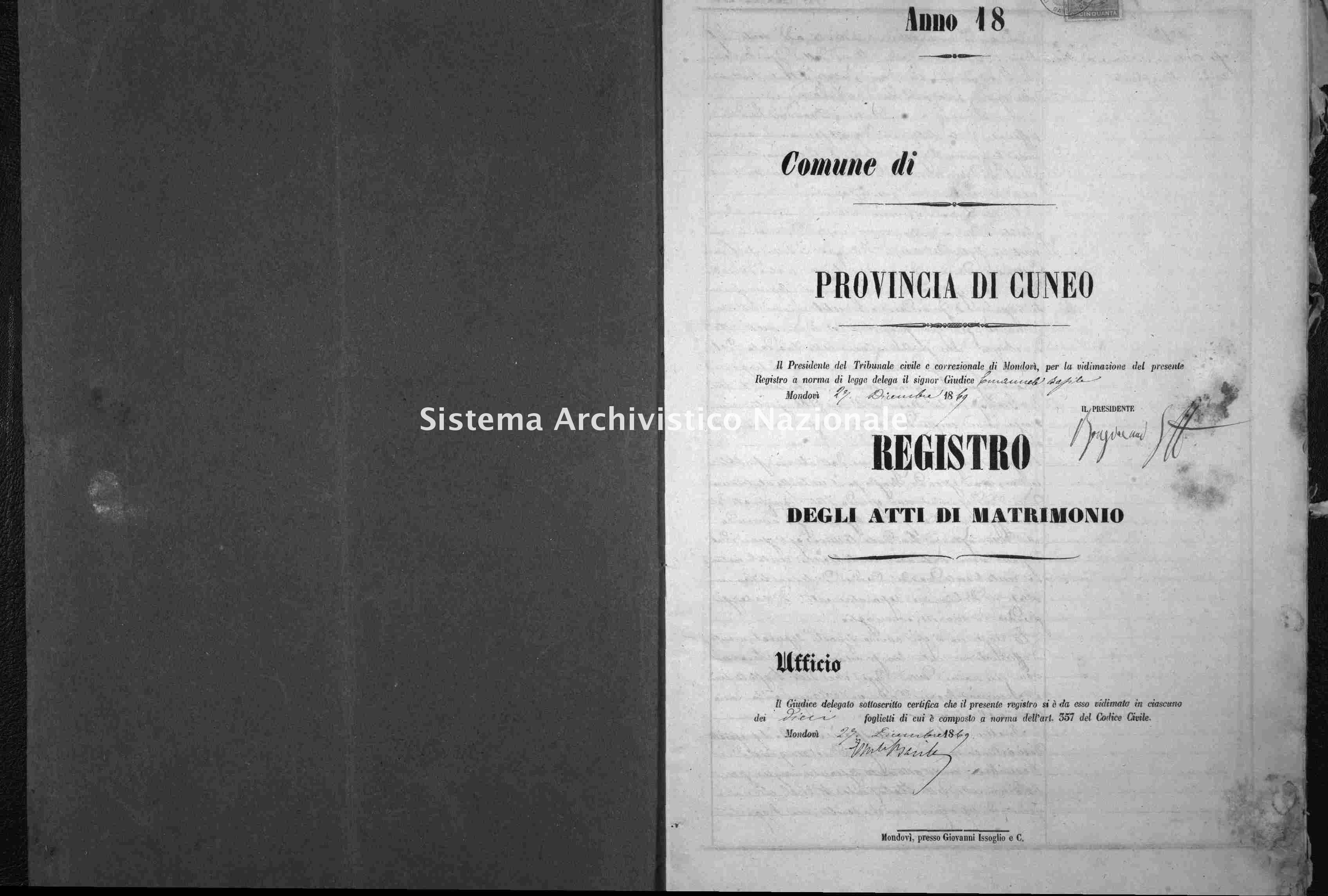 Archivio di stato di Cuneo - Stato civile italiano - Alto - Matrimoni - 1870 -
