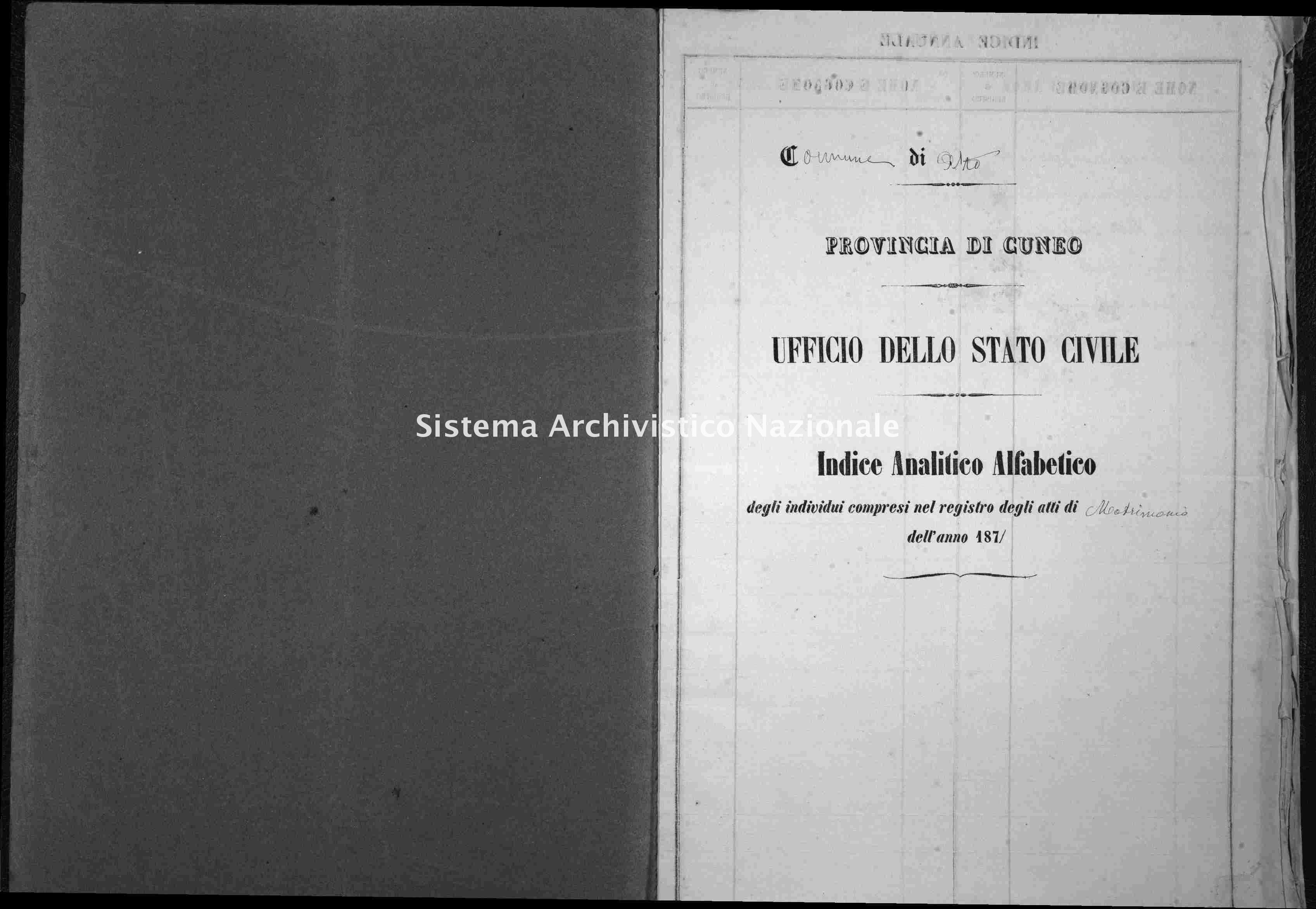 Archivio di stato di Cuneo - Stato civile italiano - Alto - Matrimoni - 1871 -