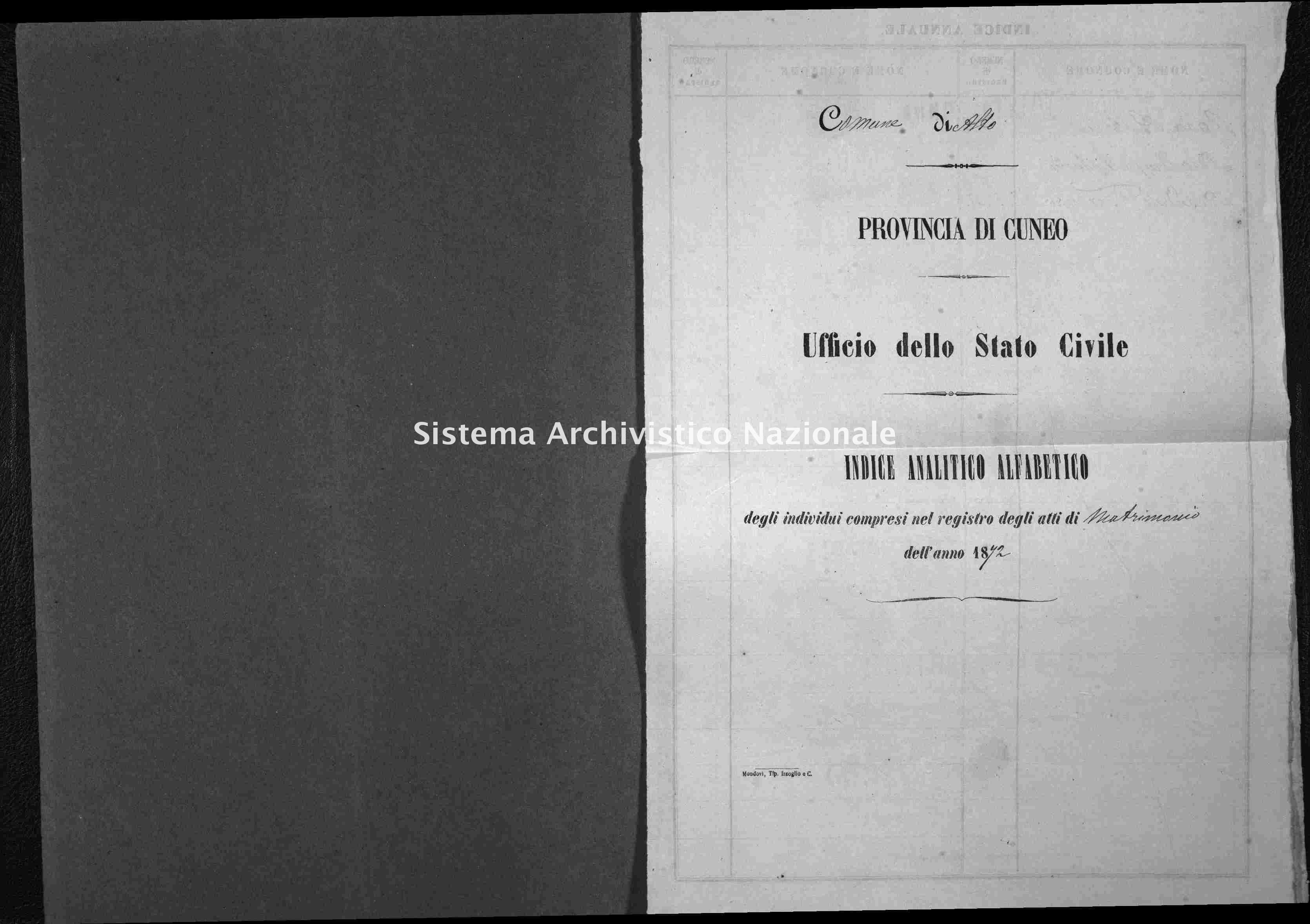 Archivio di stato di Cuneo - Stato civile italiano - Alto - Matrimoni - 1872 -