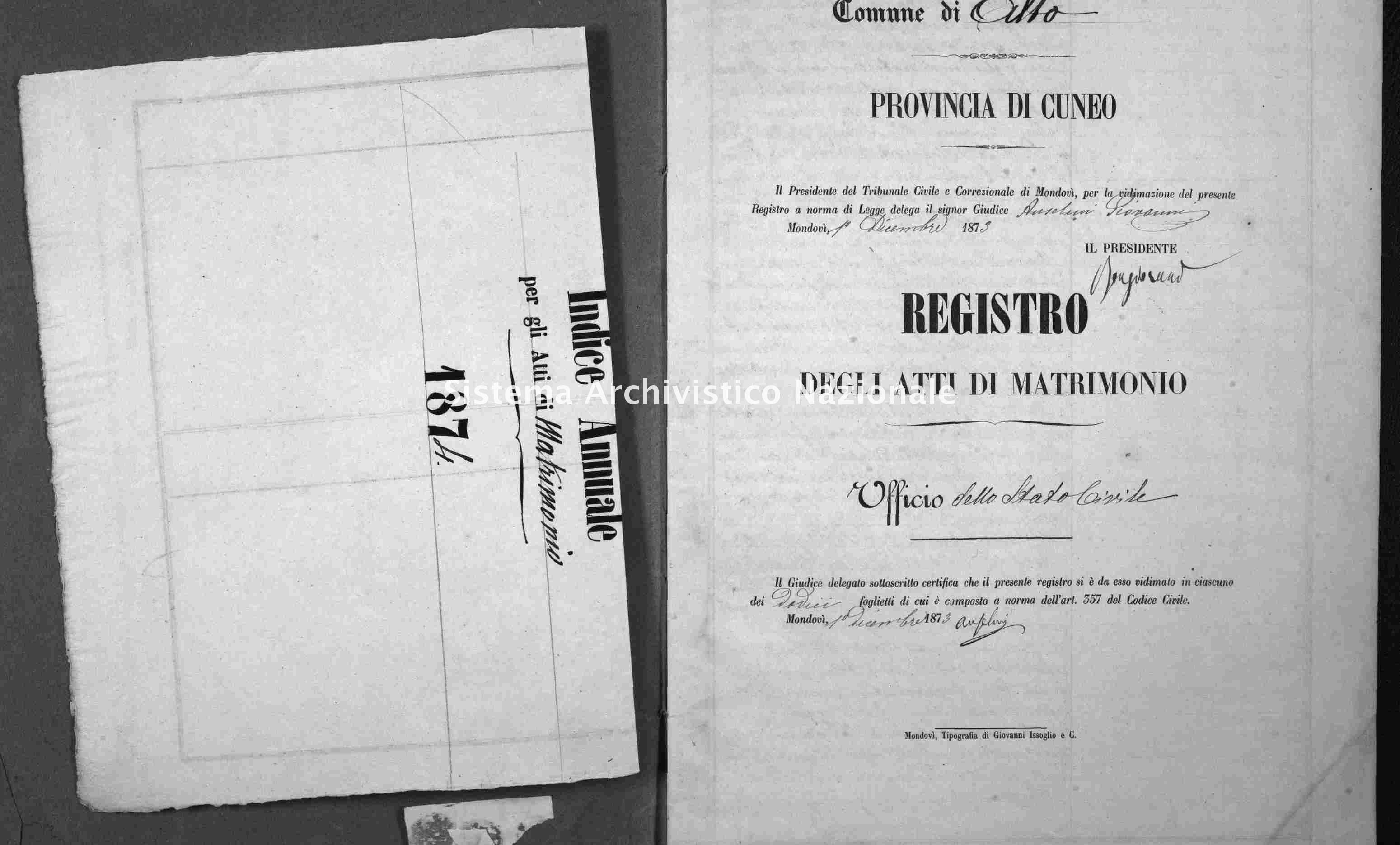 Archivio di stato di Cuneo - Stato civile italiano - Alto - Matrimoni - 1874 -
