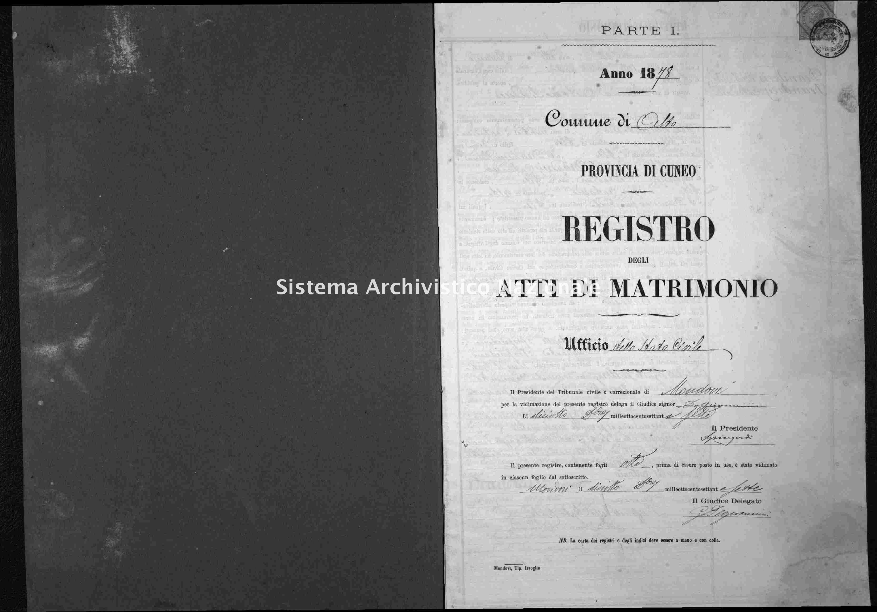 Archivio di stato di Cuneo - Stato civile italiano - Alto - Matrimoni - 1878 -