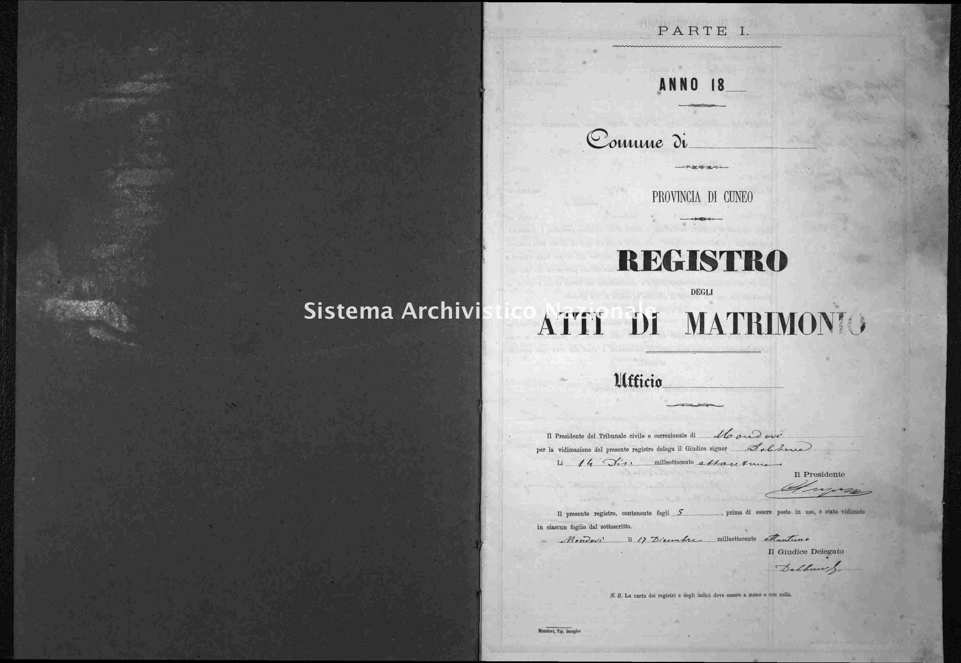Archivio di stato di Cuneo - Stato civile italiano - Alto - Matrimoni - 1882 -