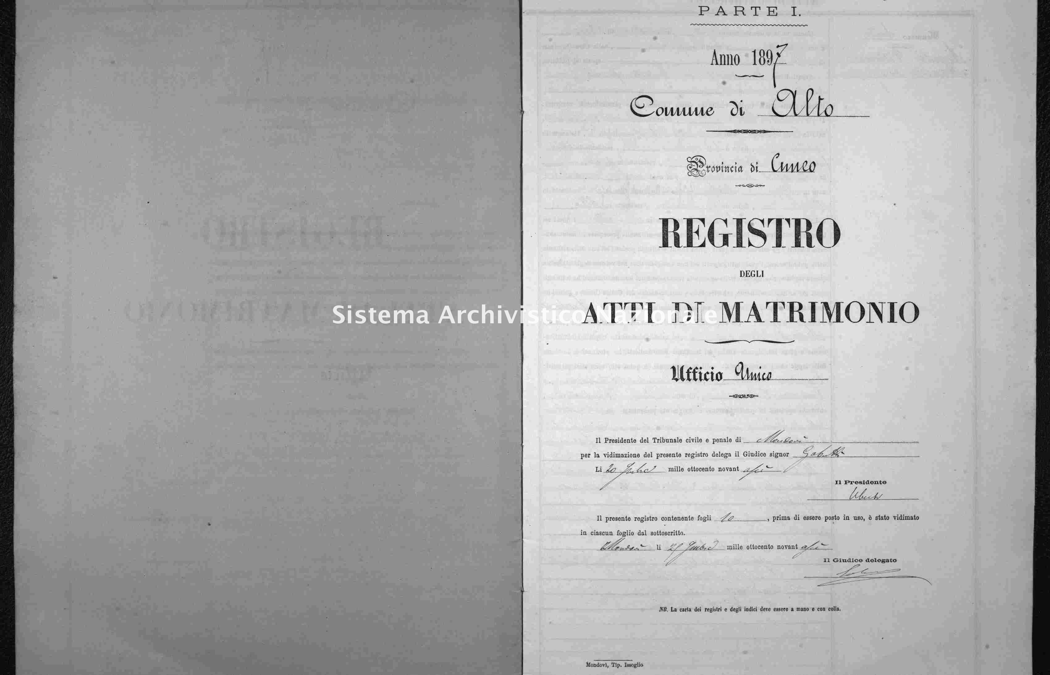Archivio di stato di Cuneo - Stato civile italiano - Alto - Matrimoni - 1897 -