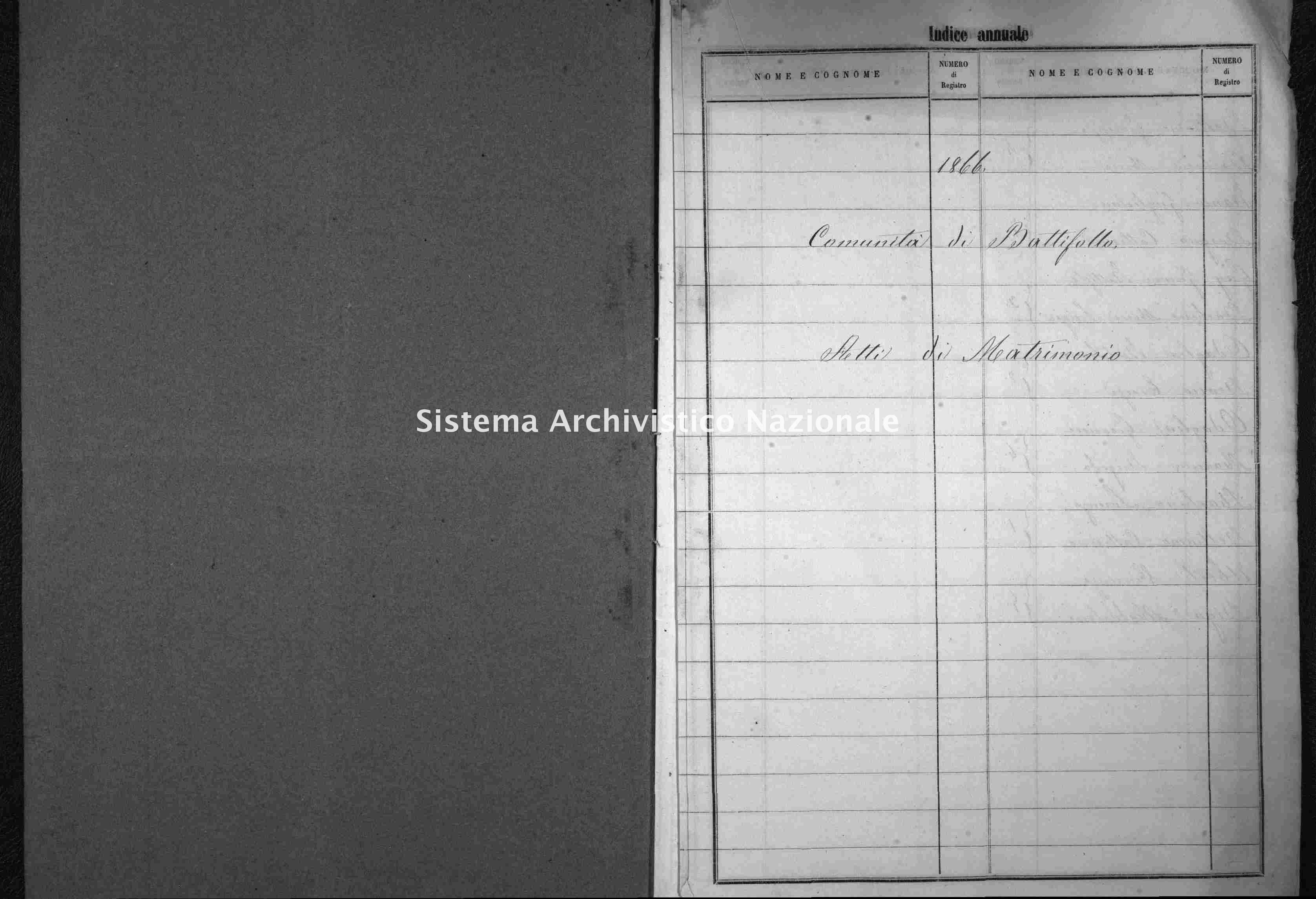 Archivio di stato di Cuneo - Stato civile italiano - Battifollo - Matrimoni - 1866 -