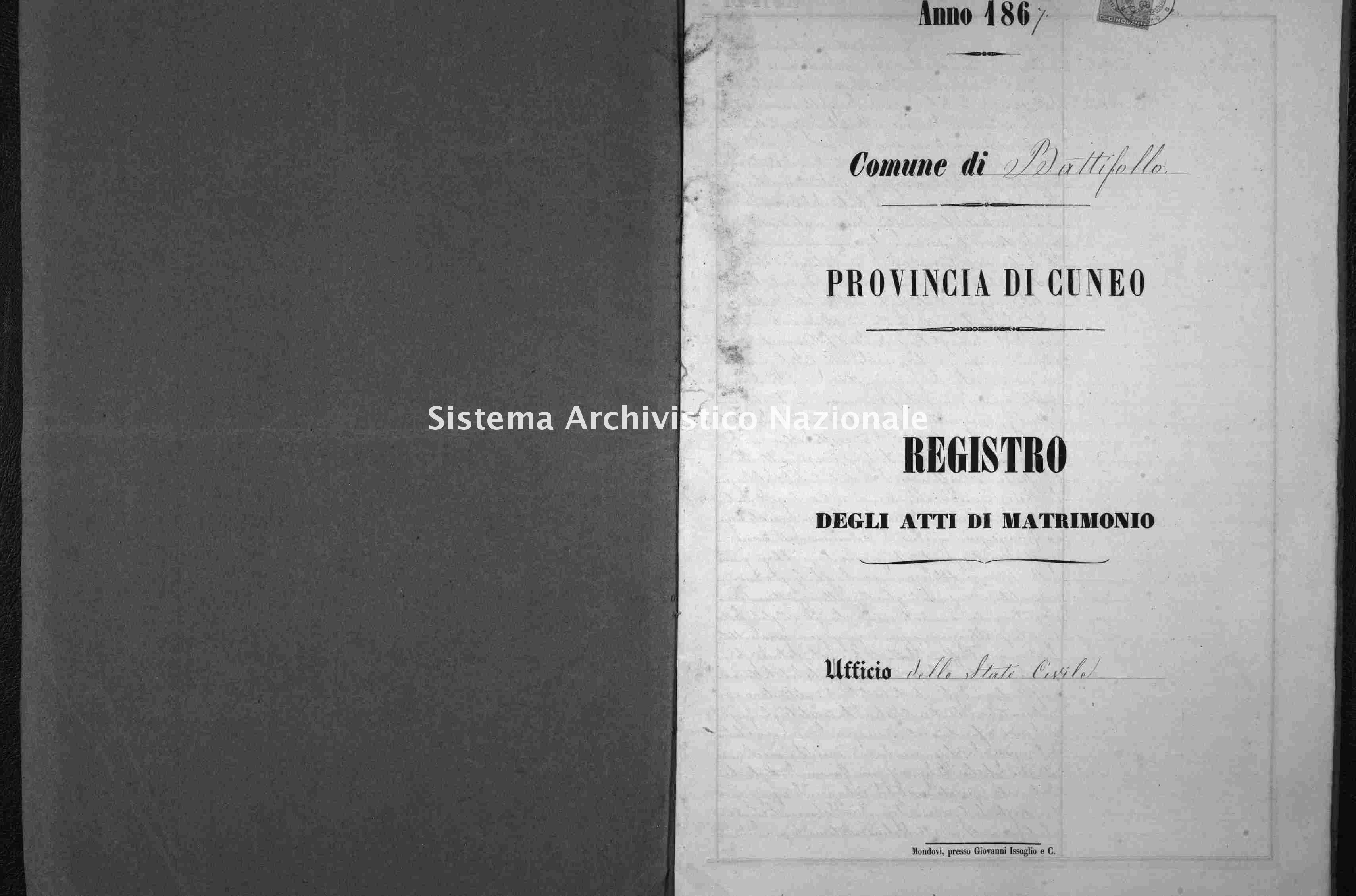 Archivio di stato di Cuneo - Stato civile italiano - Battifollo - Matrimoni - 1867 -
