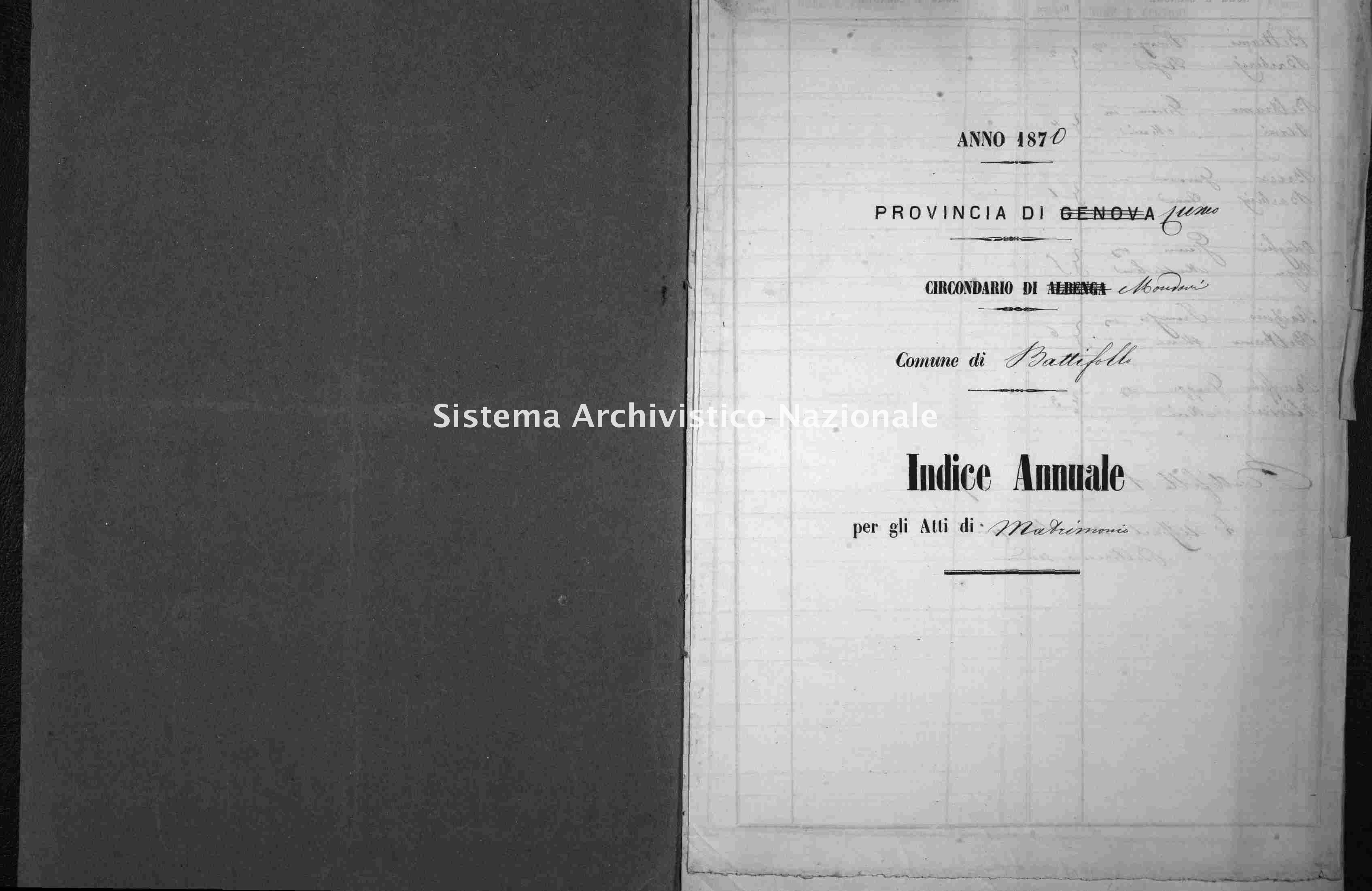 Archivio di stato di Cuneo - Stato civile italiano - Battifollo - Matrimoni - 1870 -