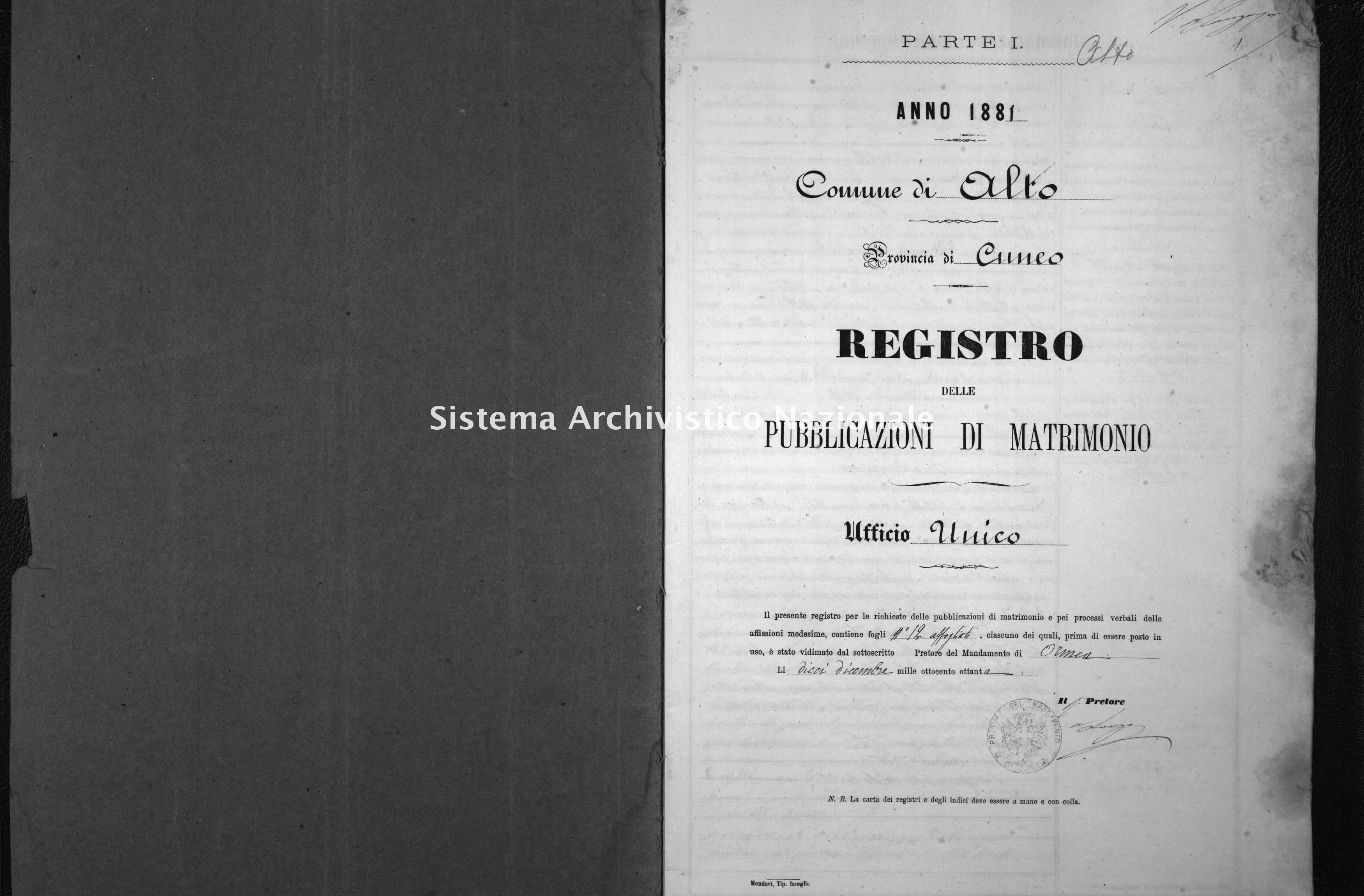 Archivio di stato di Cuneo - Stato civile italiano - Alto - Matrimoni, pubblicazioni - 1881 -