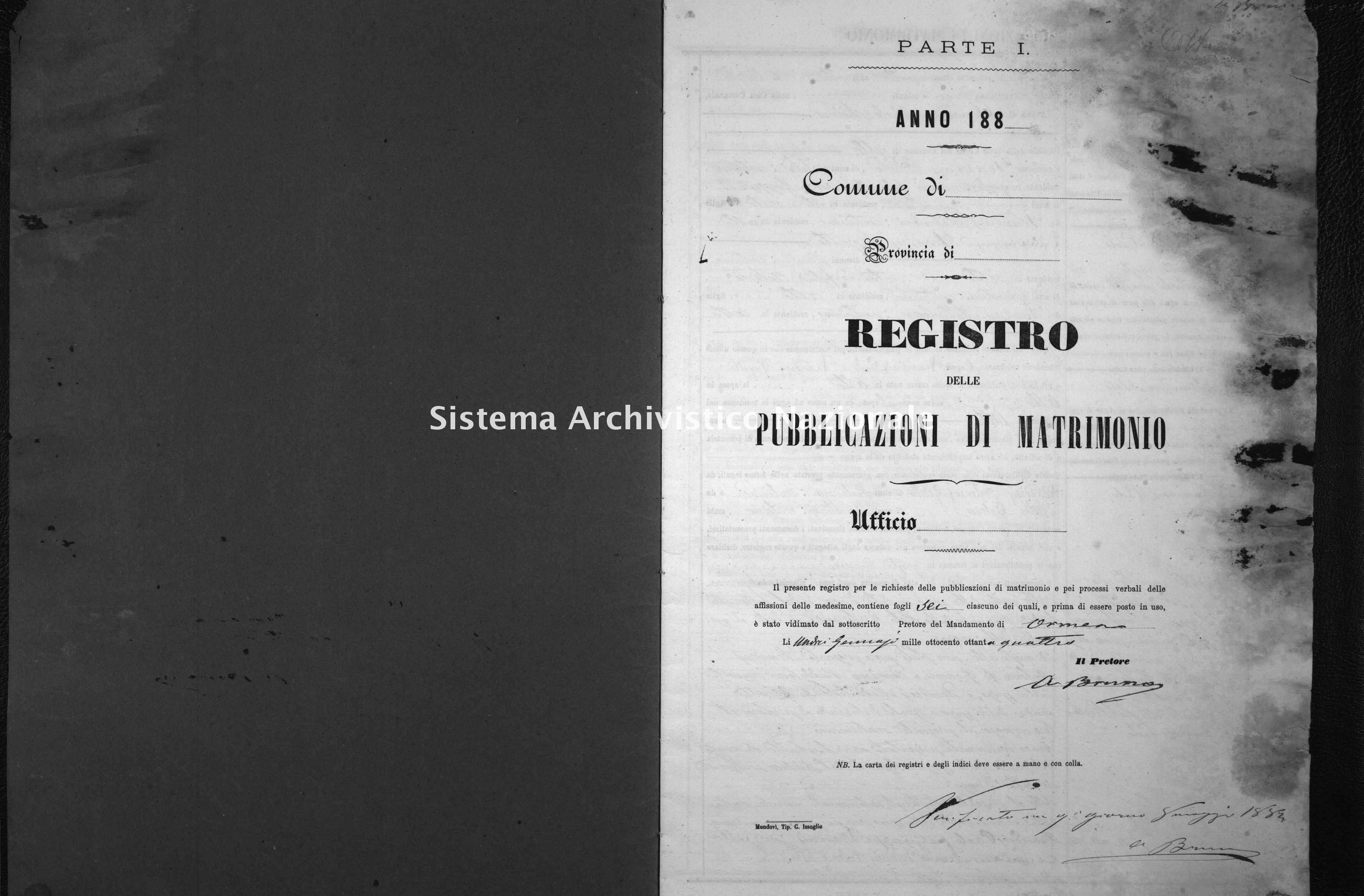 Archivio di stato di Cuneo - Stato civile italiano - Alto - Matrimoni, pubblicazioni - 1884 -