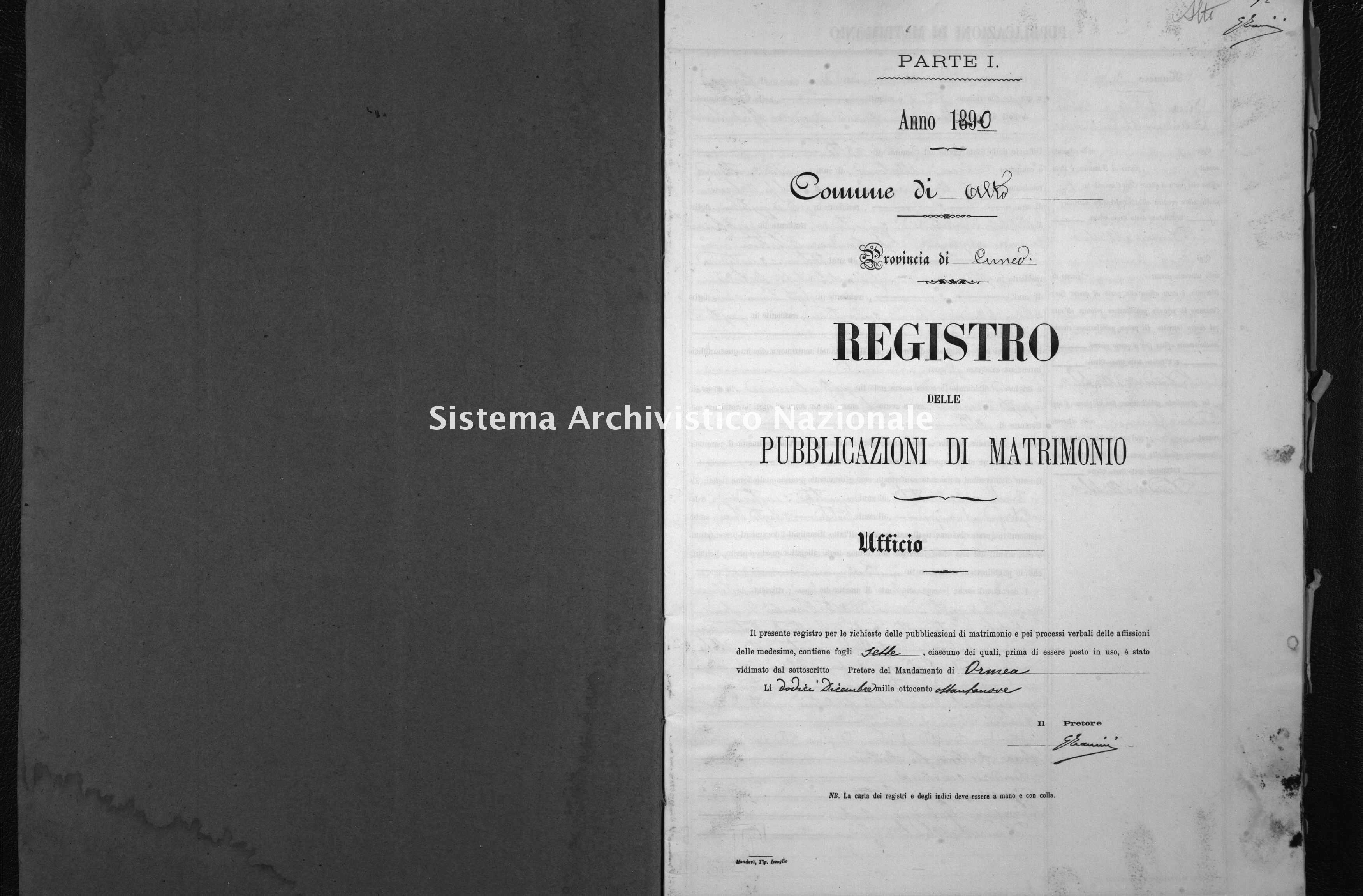 Archivio di stato di Cuneo - Stato civile italiano - Alto - Matrimoni, pubblicazioni - 1890 -