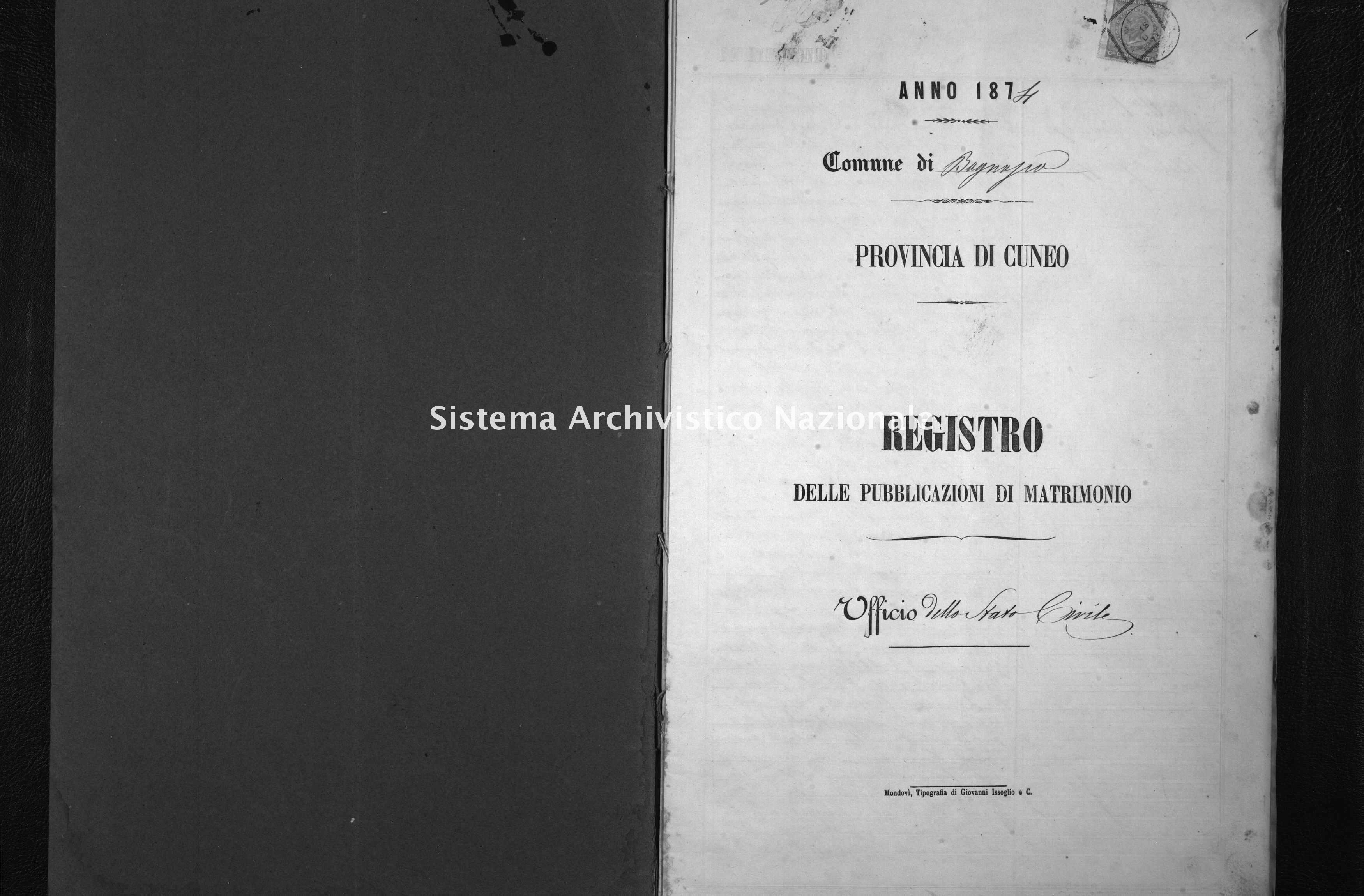 Archivio di stato di Cuneo - Stato civile italiano - Bagnasco - Matrimoni, pubblicazioni - 1874 -