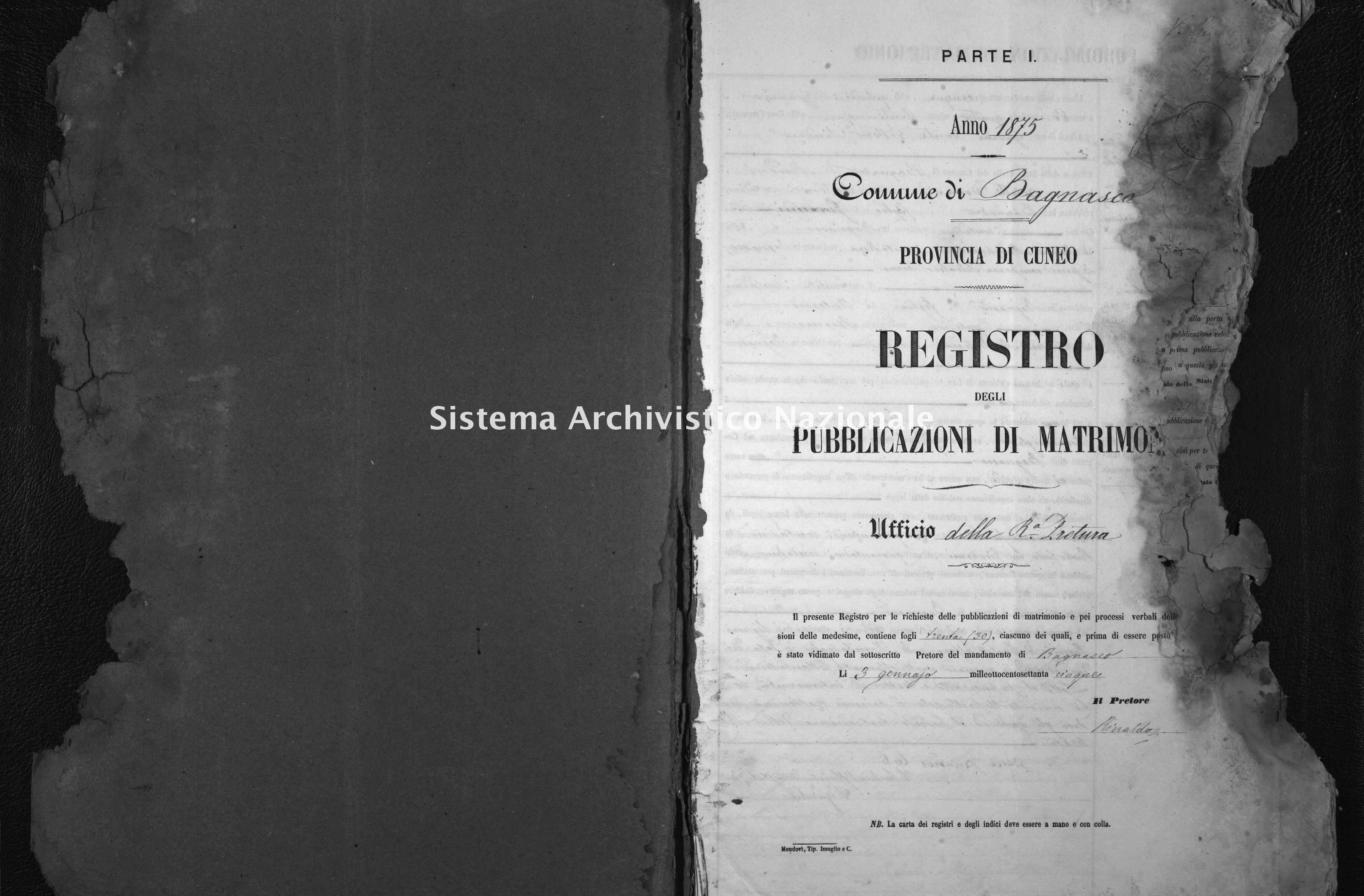 Archivio di stato di Cuneo - Stato civile italiano - Bagnasco - Matrimoni, pubblicazioni - 1875 -