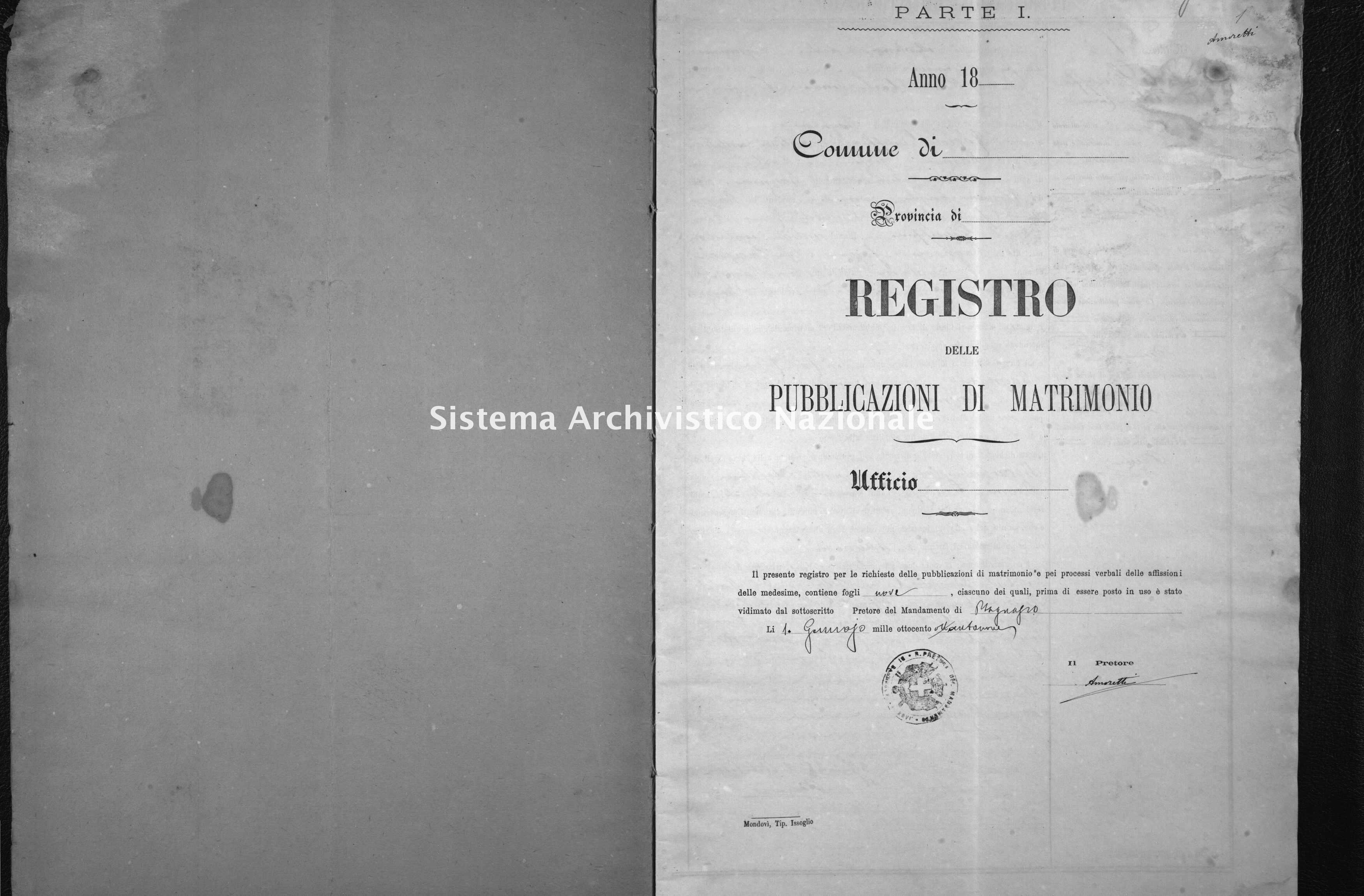 Archivio di stato di Cuneo - Stato civile italiano - Bagnasco - Matrimoni, pubblicazioni - 1889 -