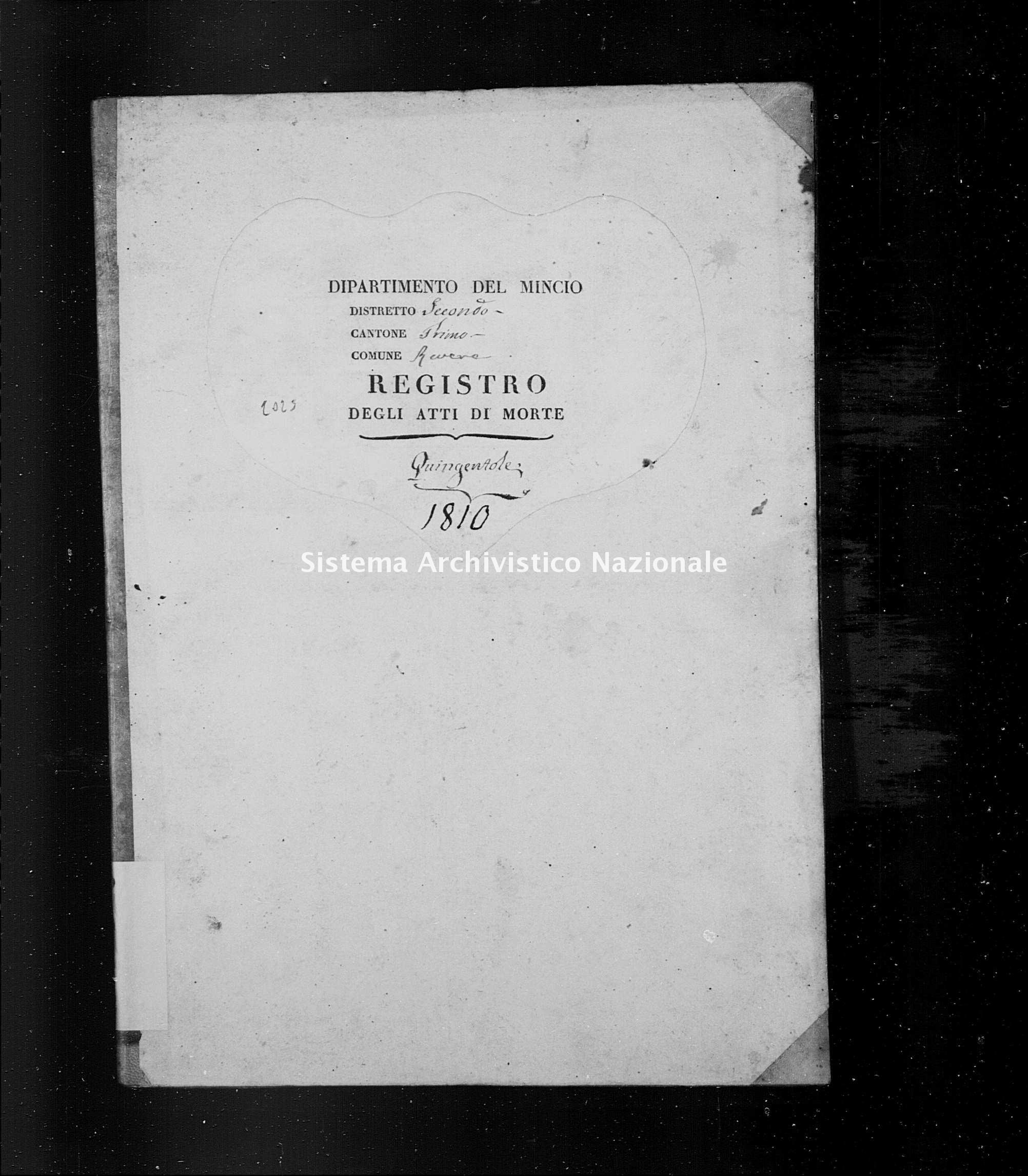 Archivio di stato di Mantova - Stato civile napoleonico - Quingentole - Morti - 1810 - 2023 -