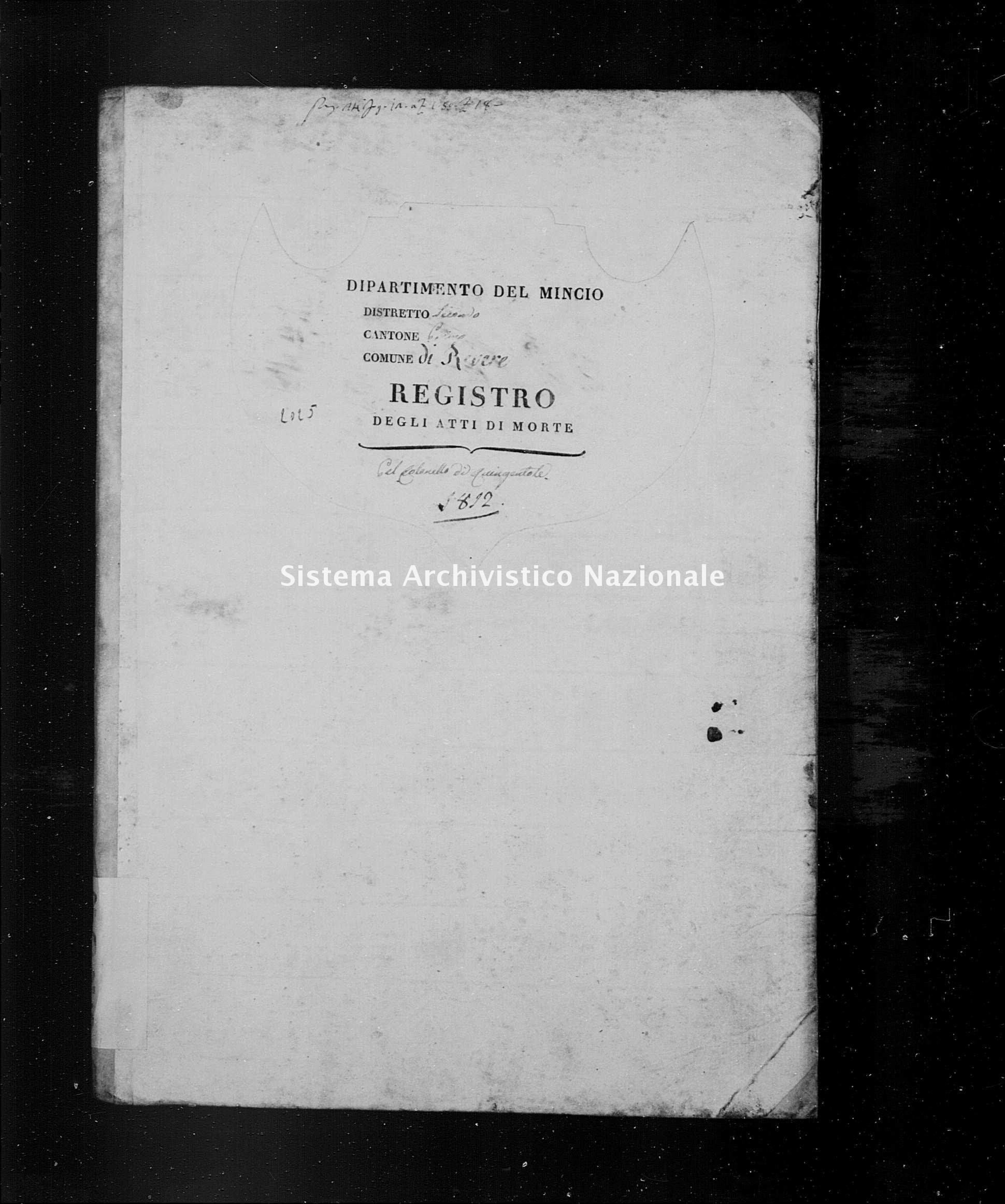 Archivio di stato di Mantova - Stato civile napoleonico - Quingentole - Morti - 1812 - 2025 -