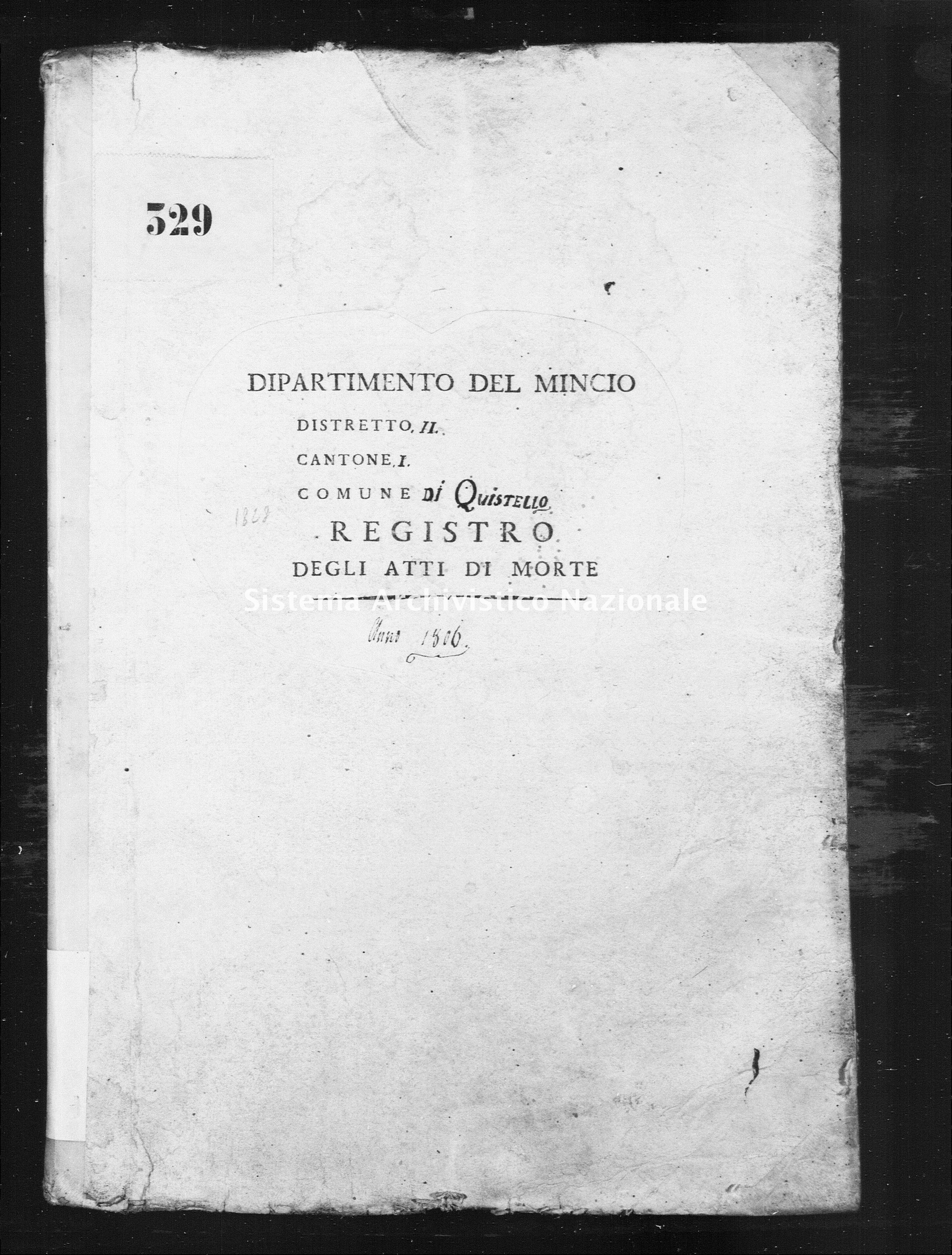 Archivio di stato di Mantova - Stato civile napoleonico - Quistello - Morti - 1806 - 1828 -