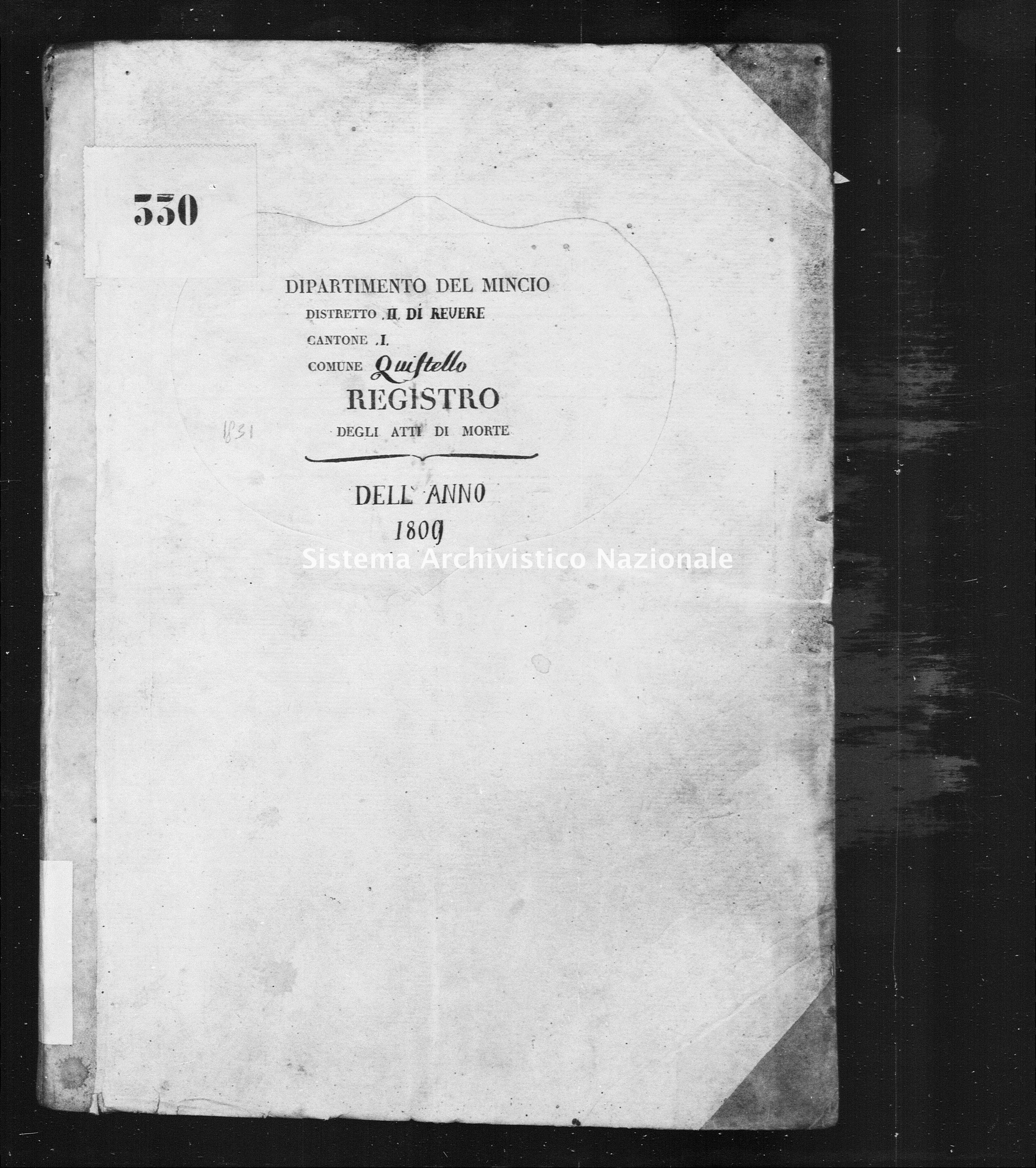Archivio di stato di Mantova - Stato civile napoleonico - Quistello - Morti - 1809 - 1831 -