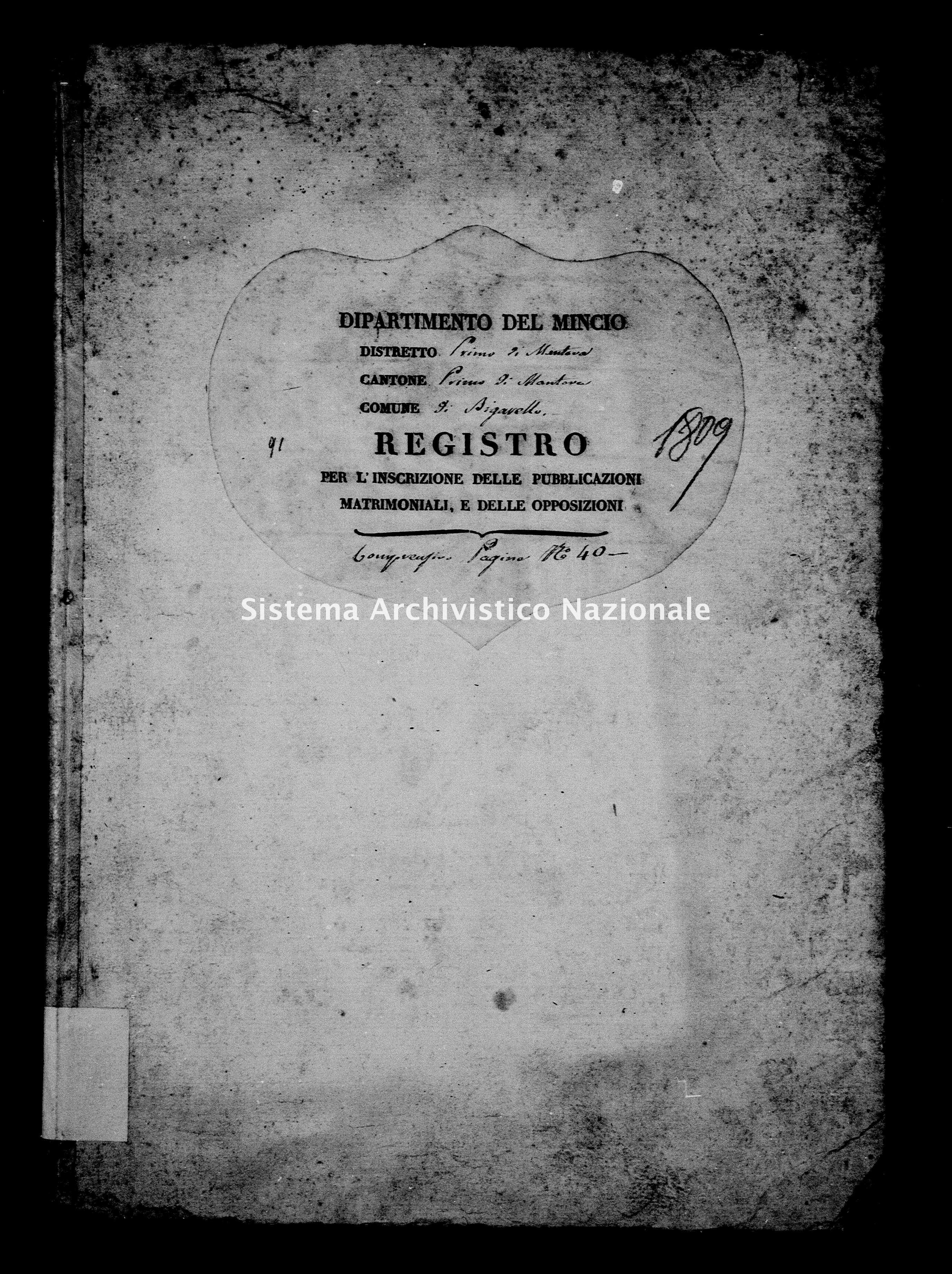 Archivio di stato di Mantova - Stato civile e anagrafe del Dipartimento del Mincio - Bigarello - Matrimoni pubblicazioni e opposizioni - 1809 - 91 -