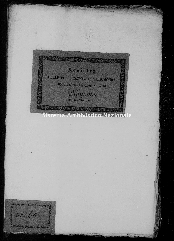 Archivio di stato di Firenze - Stato civile di Toscana (1808-1865) - Chianni - Matrimoni, pubblicazioni - 1808 - 1201 -