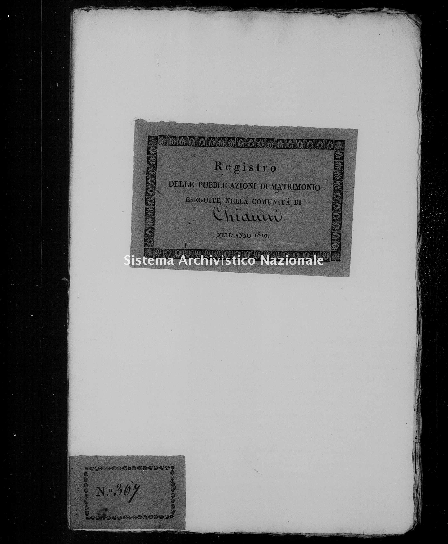 Archivio di stato di Firenze - Stato civile di Toscana (1808-1865) - Chianni - Matrimoni, pubblicazioni - 1810 - 1201 -