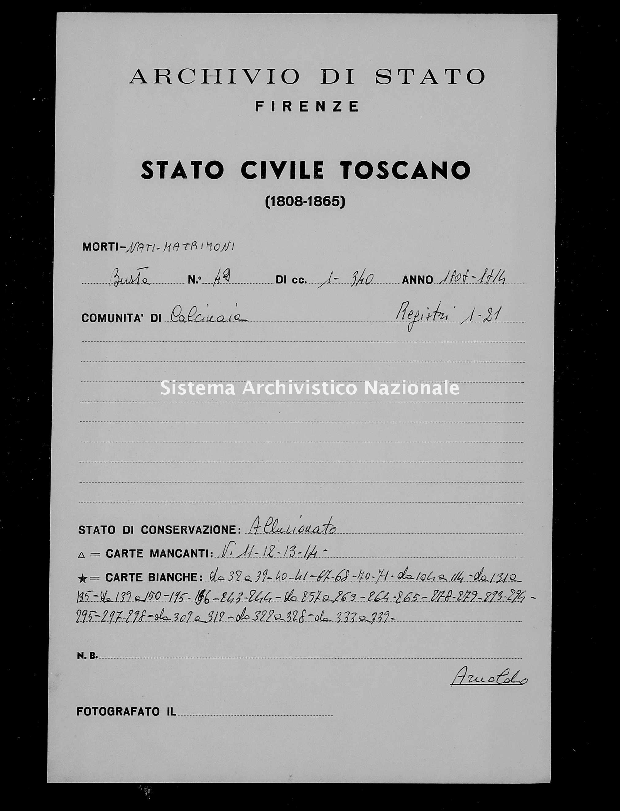 Archivio di stato di Firenze - Stato civile di Toscana (1808-1865) - Calcinaia - Morti - 1808 - 49 -
