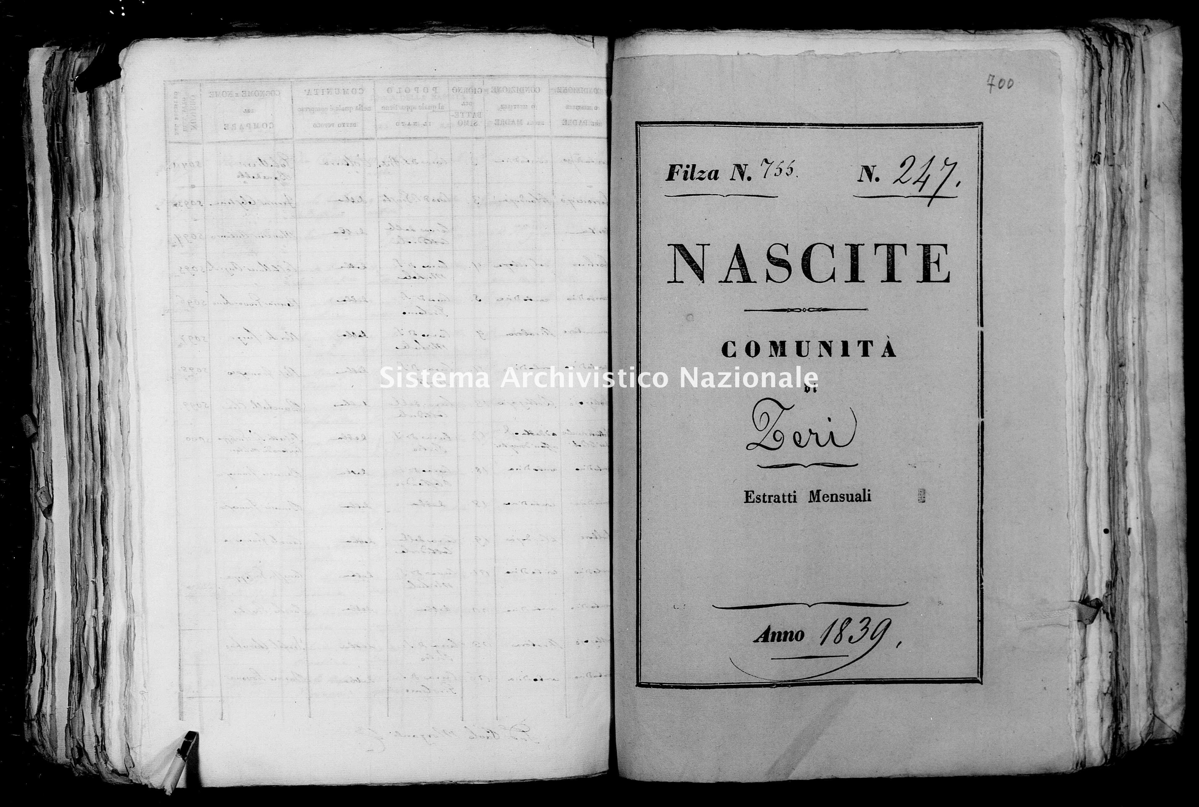 Archivio di stato di Firenze - Stato civile di Toscana (1808-1865) - Zeri - Nati - 1839 - 755 -