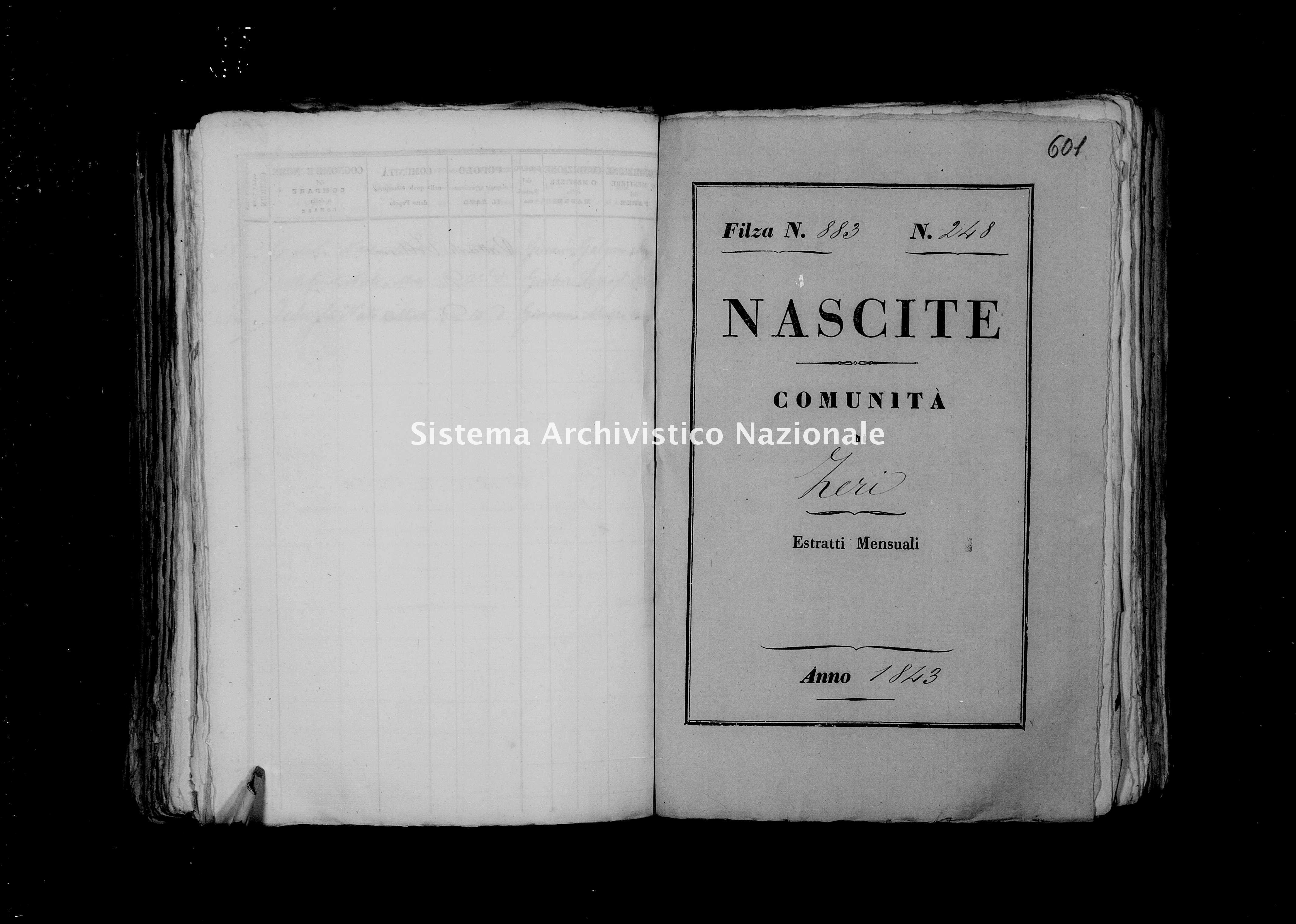 Archivio di stato di Firenze - Stato civile di Toscana (1808-1865) - Zeri - Nati - 1843 - 883 -