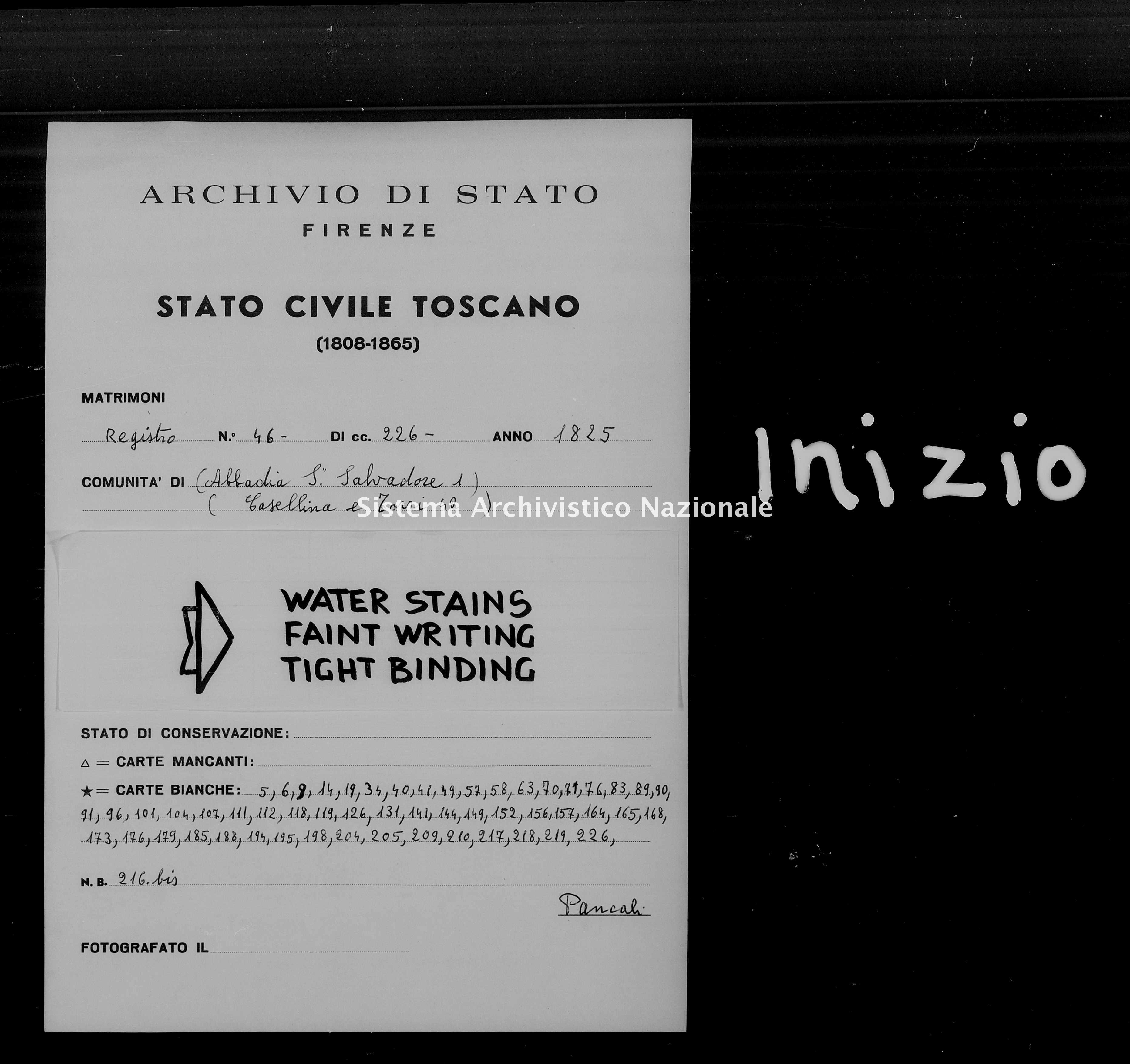 Archivio di stato di Firenze - Stato civile di Toscana (1808-1865) - Abbadia San Salvatore - Matrimoni - 1825 - 46 -