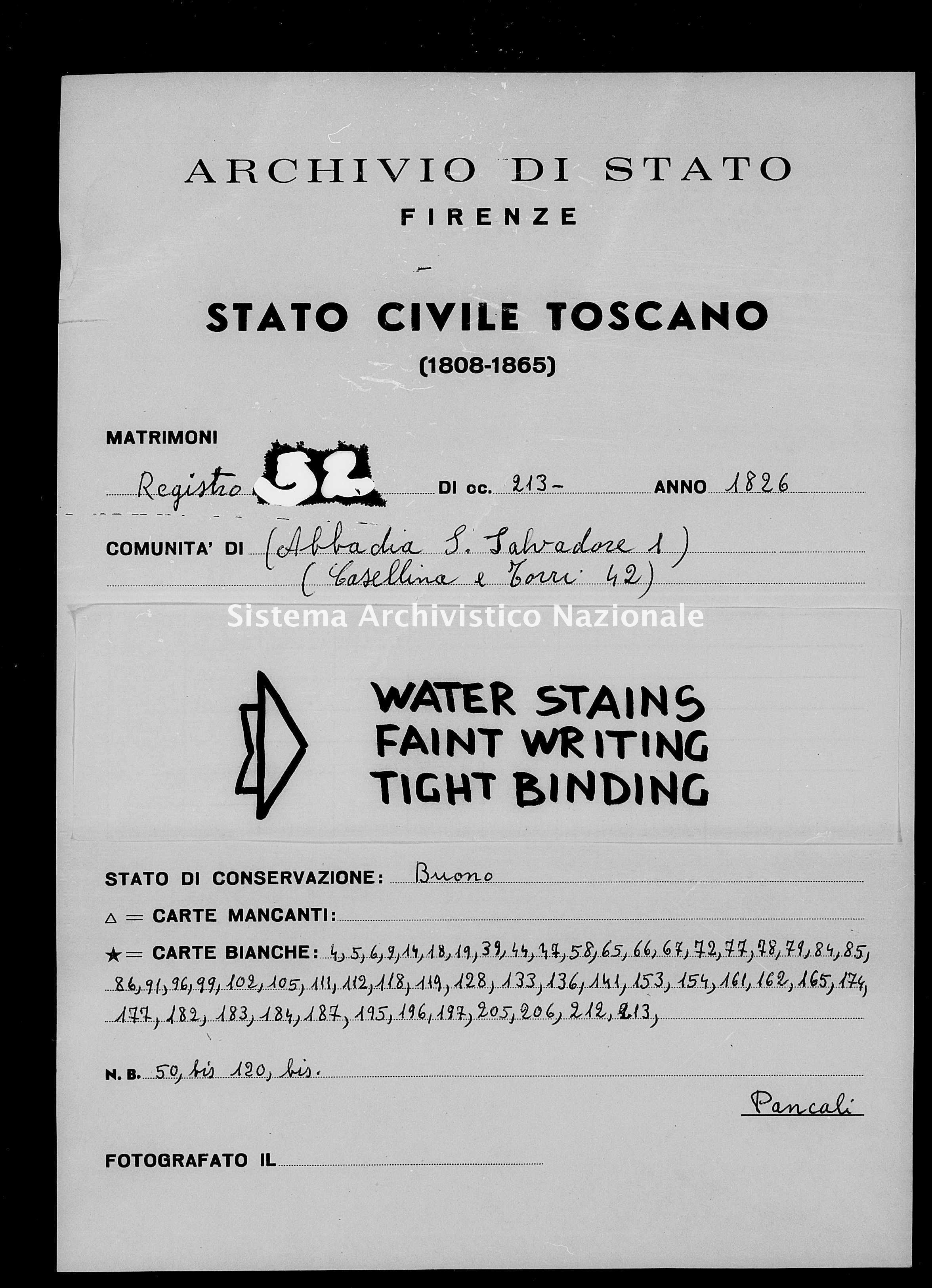 Archivio di stato di Firenze - Stato civile di Toscana (1808-1865) - Abbadia San Salvatore - Matrimoni - 1826 - 52 -