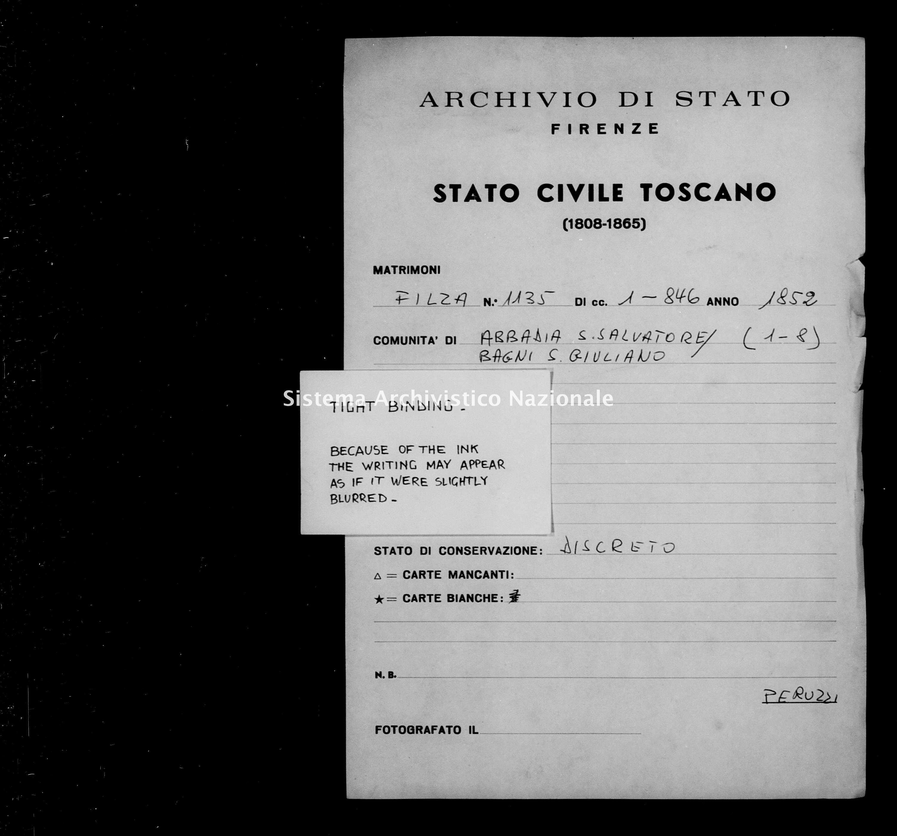 Archivio di stato di Firenze - Stato civile di Toscana (1808-1865) - Abbadia San Salvatore - Matrimoni - 1852 - 1135 -