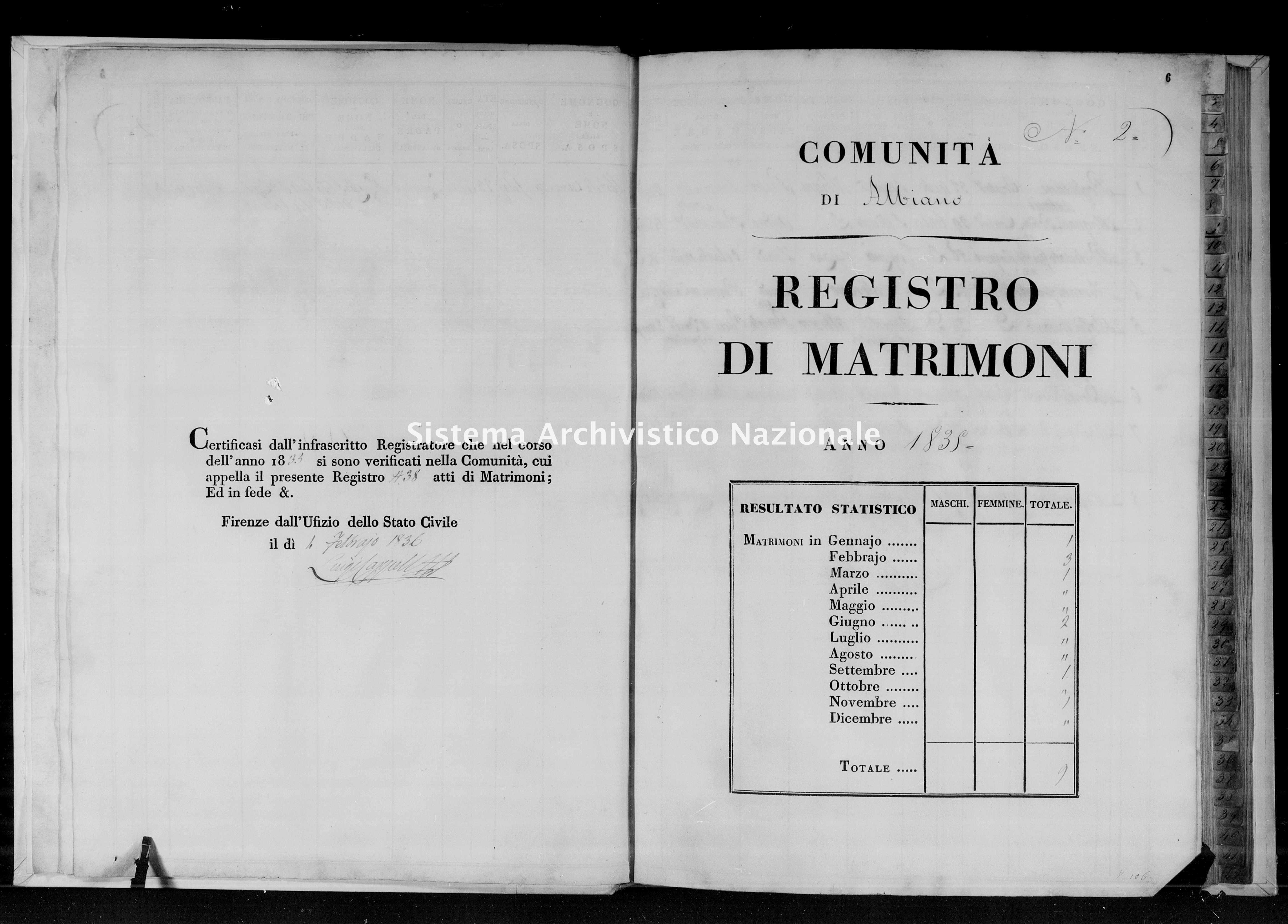 Archivio di stato di Firenze - Stato civile di Toscana (1808-1865) - Albiano - Matrimoni - 1835 - 106 -