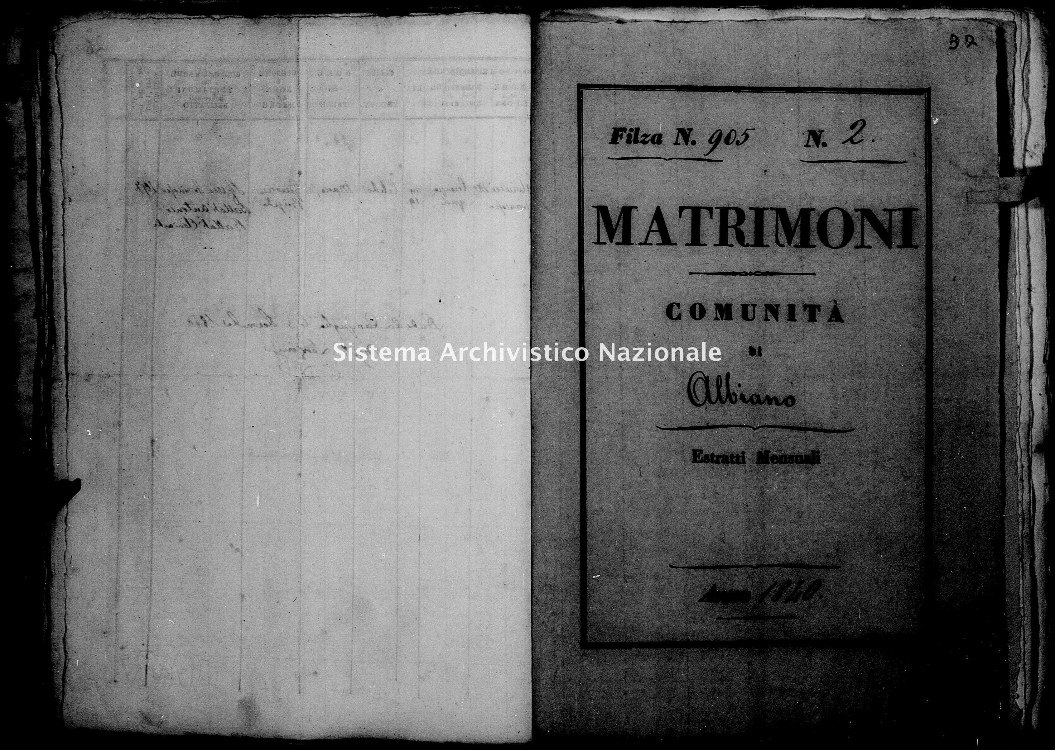 Archivio di stato di Firenze - Stato civile di Toscana (1808-1865) - Albiano - Matrimoni - 1840 - 905 -
