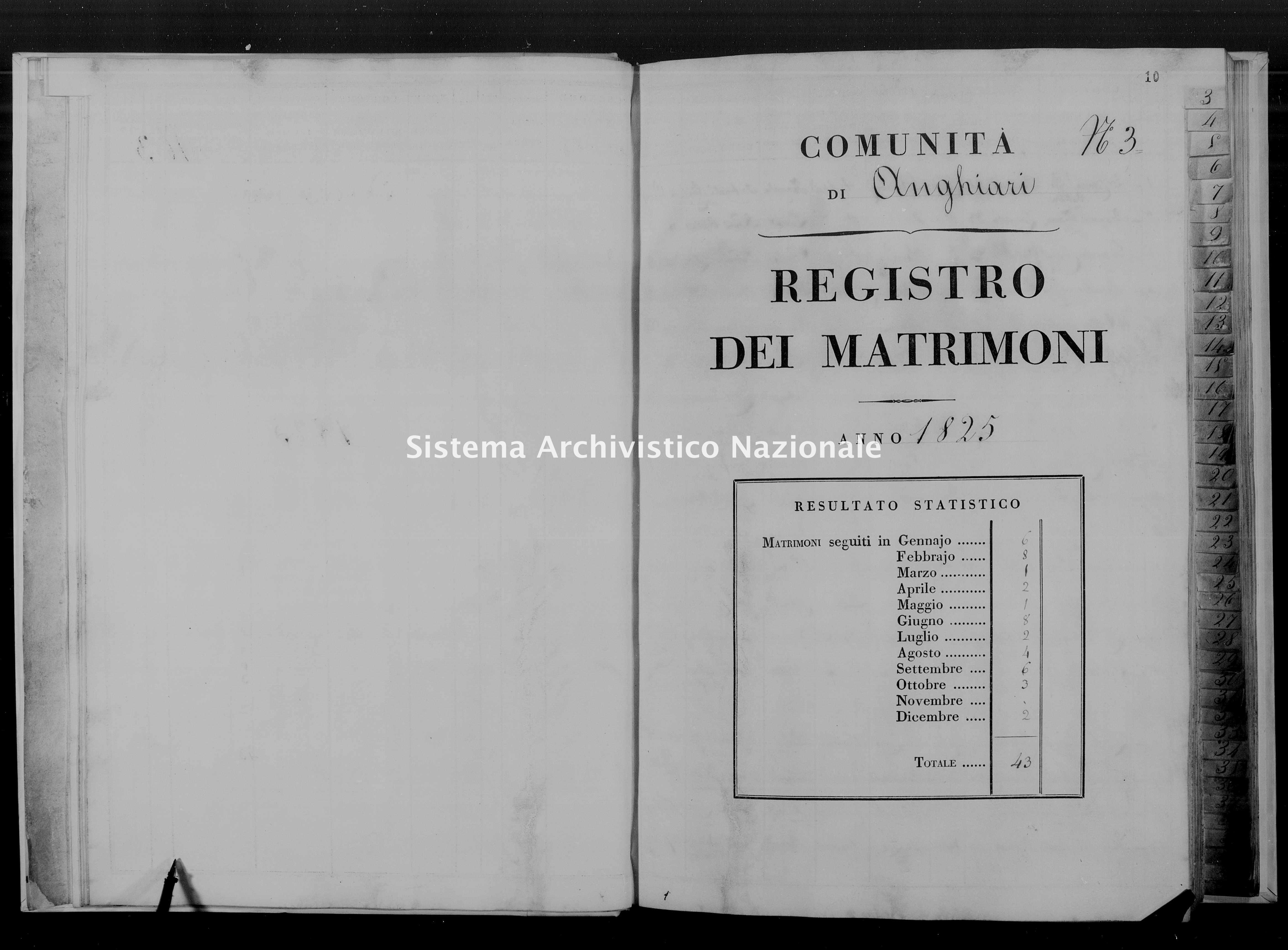 Archivio di stato di Firenze - Stato civile di Toscana (1808-1865) - Anghiari - Matrimoni - 1825 - 46 -