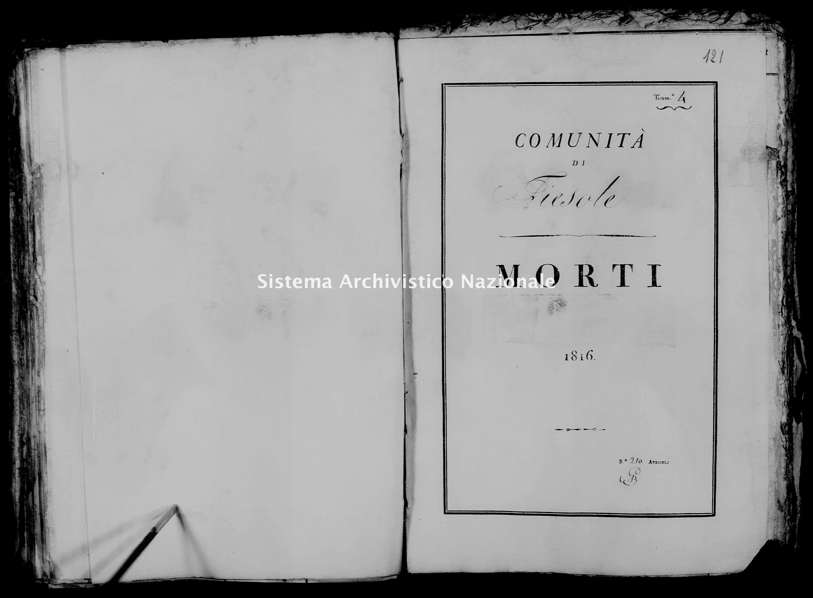 Archivio di stato di Firenze - Stato civile di Toscana (1808-1865) - Fiesole - Morti - 1816 - 31 -