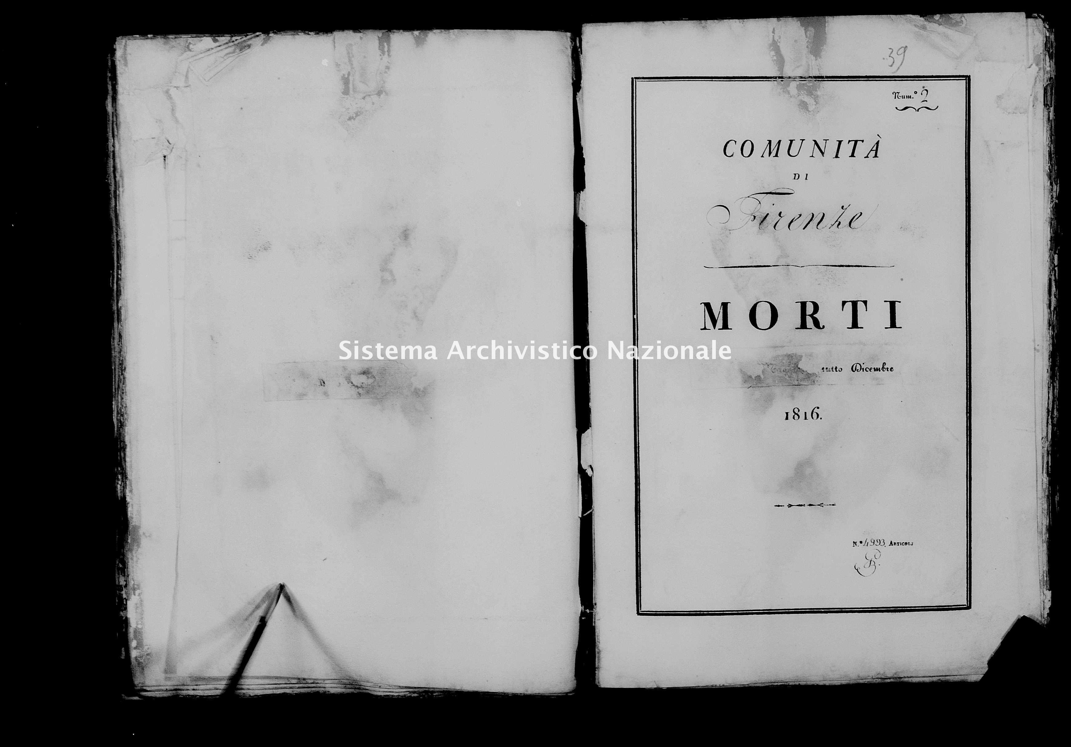 Archivio di stato di Firenze - Stato civile di Toscana (1808-1865) - Firenze - Morti - 1816 - 38 -