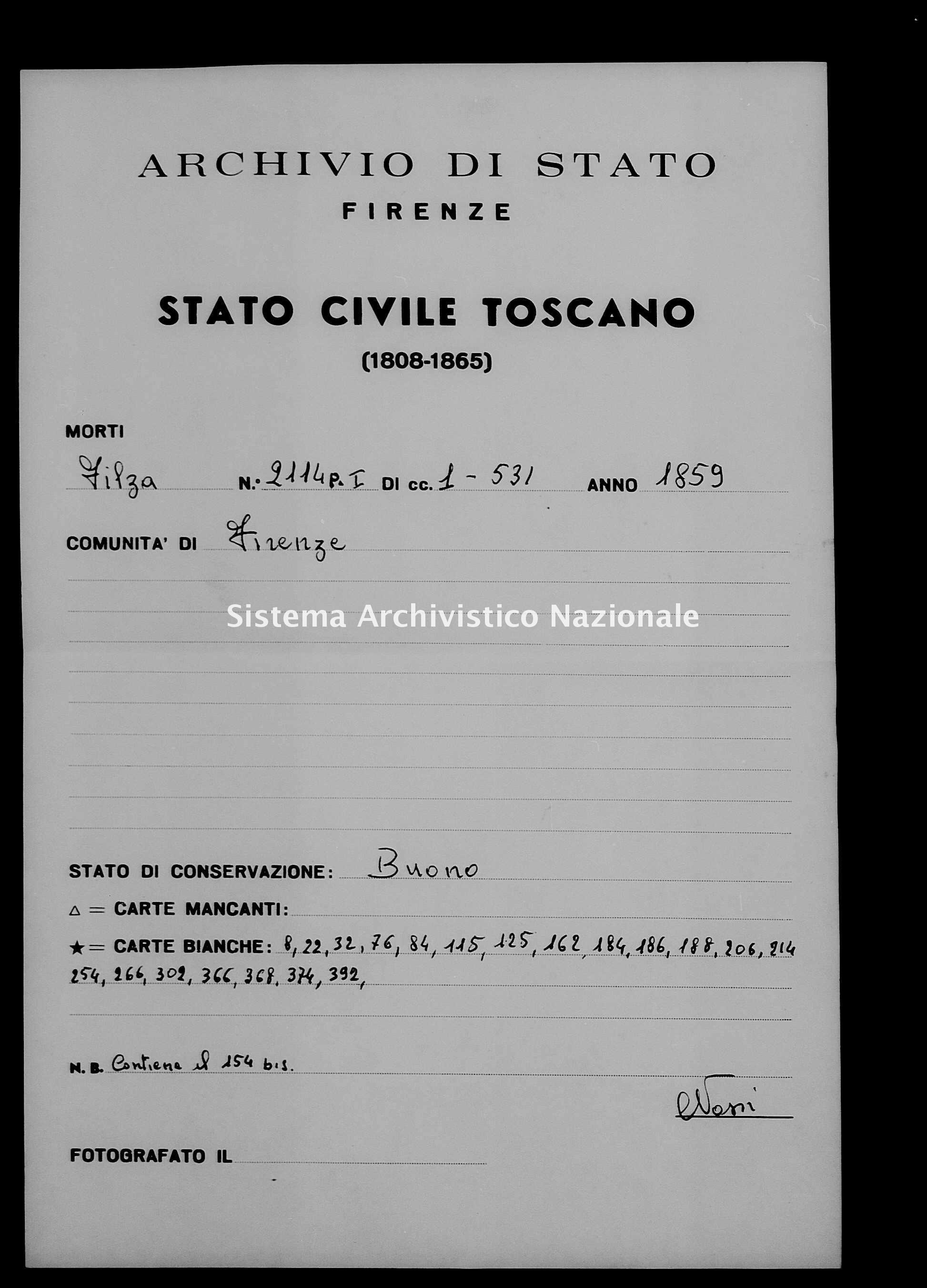 Archivio di stato di Firenze - Stato civile di Toscana (1808-1865) - Firenze - Morti - 1859 - 2114, Parte 1 -