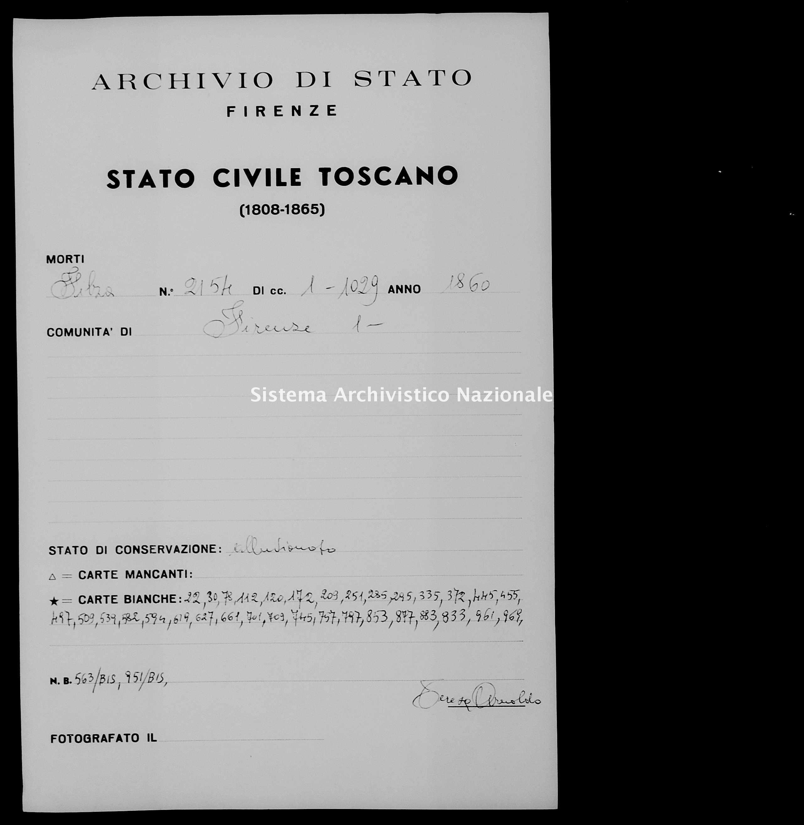 Archivio di stato di Firenze - Stato civile di Toscana (1808-1865) - Firenze - Morti - 1860 - 2154 -