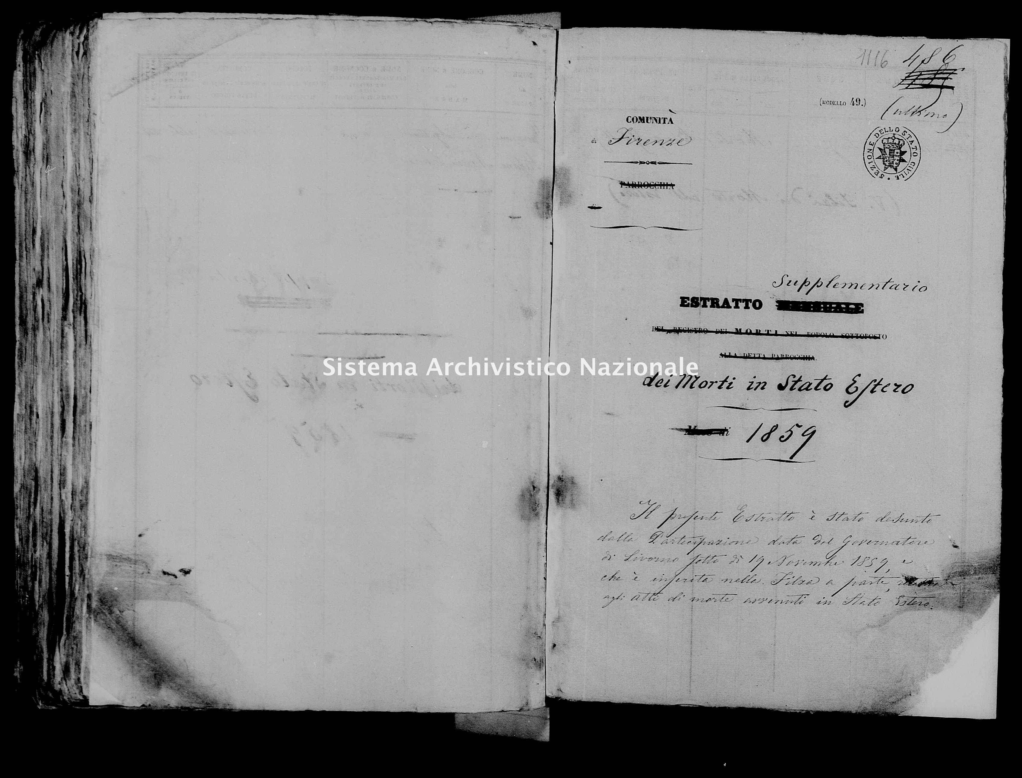 Archivio di stato di Firenze - Stato civile di Toscana (1808-1865) - Firenze - Morti, esteri - 1859 - 2114, Parte 2 -