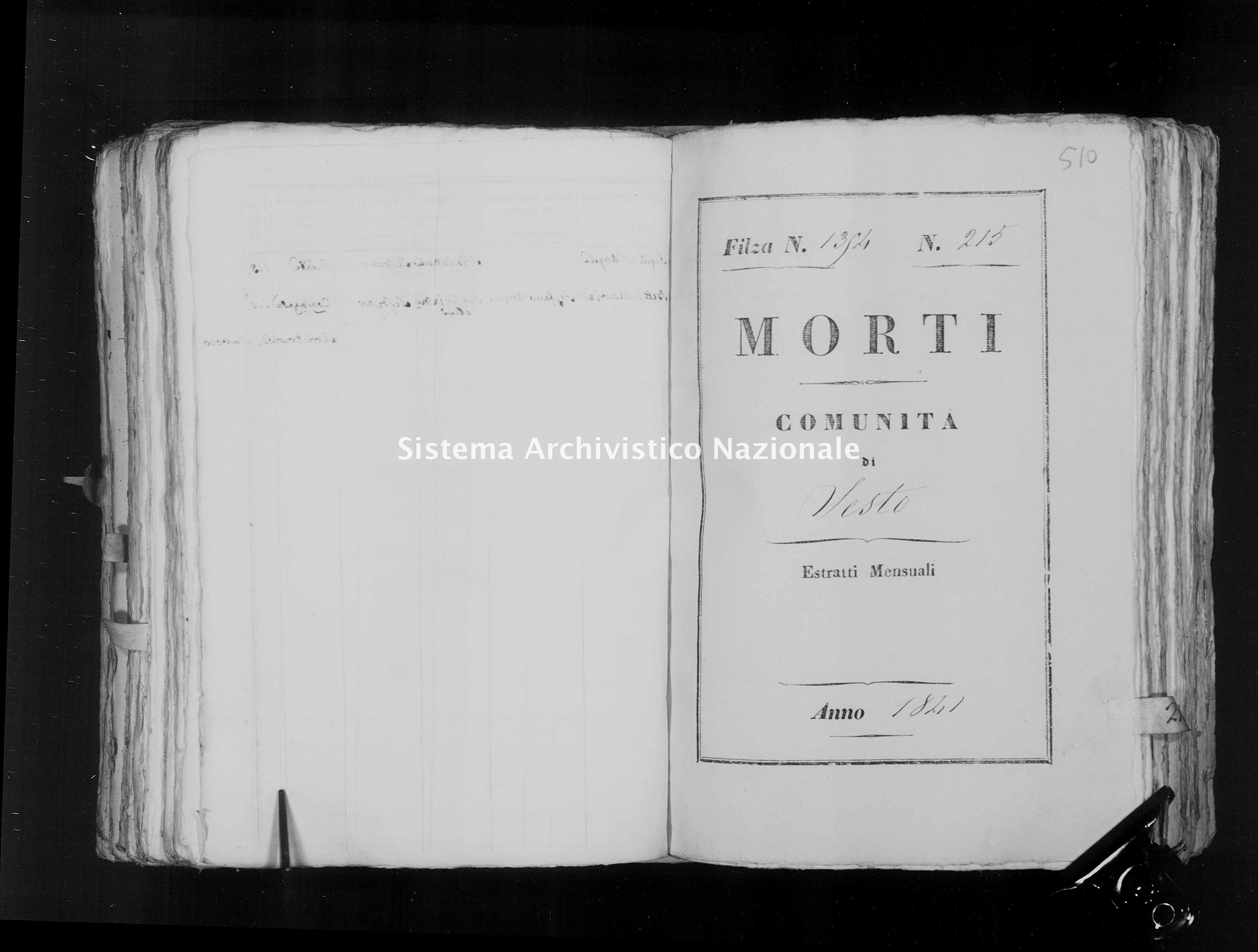Archivio di stato di Firenze - Stato civile della restaurazione - Sesto - Morti - 1841 - 1354 -