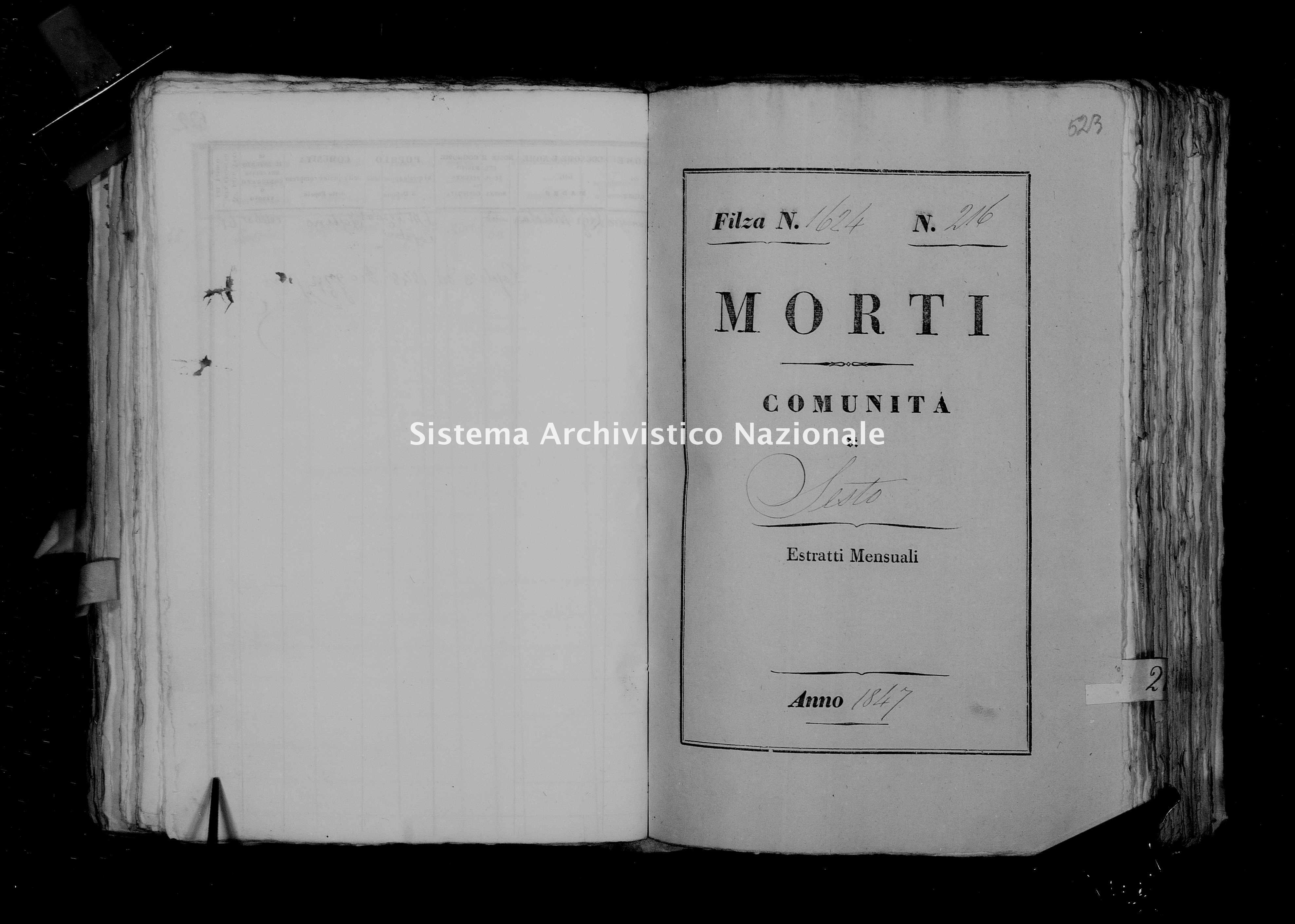 Archivio di stato di Firenze - Stato civile della restaurazione - Sesto - Morti - 1847 - 1624 -
