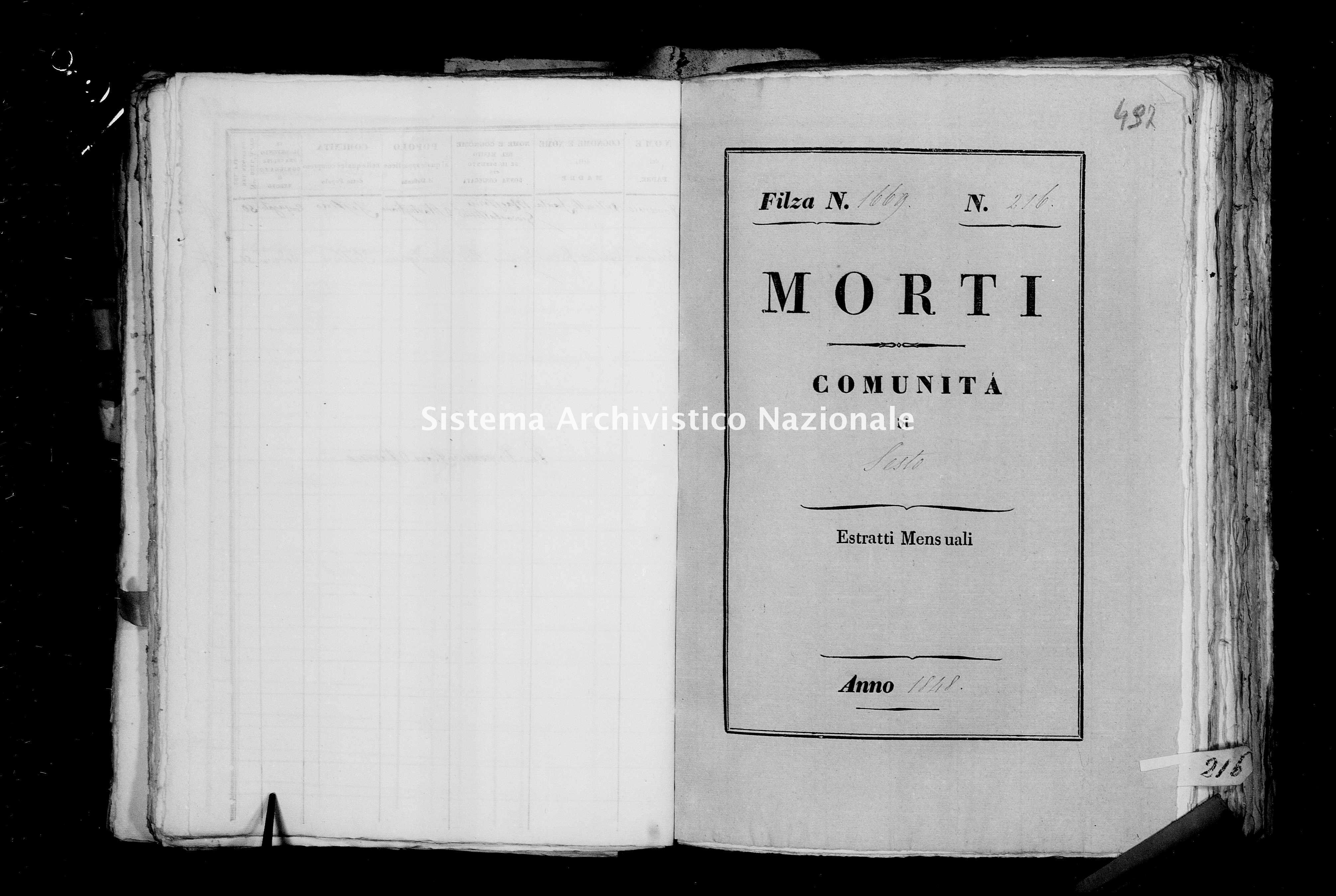 Archivio di stato di Firenze - Stato civile della restaurazione - Sesto - Morti - 1848 - 1669 -