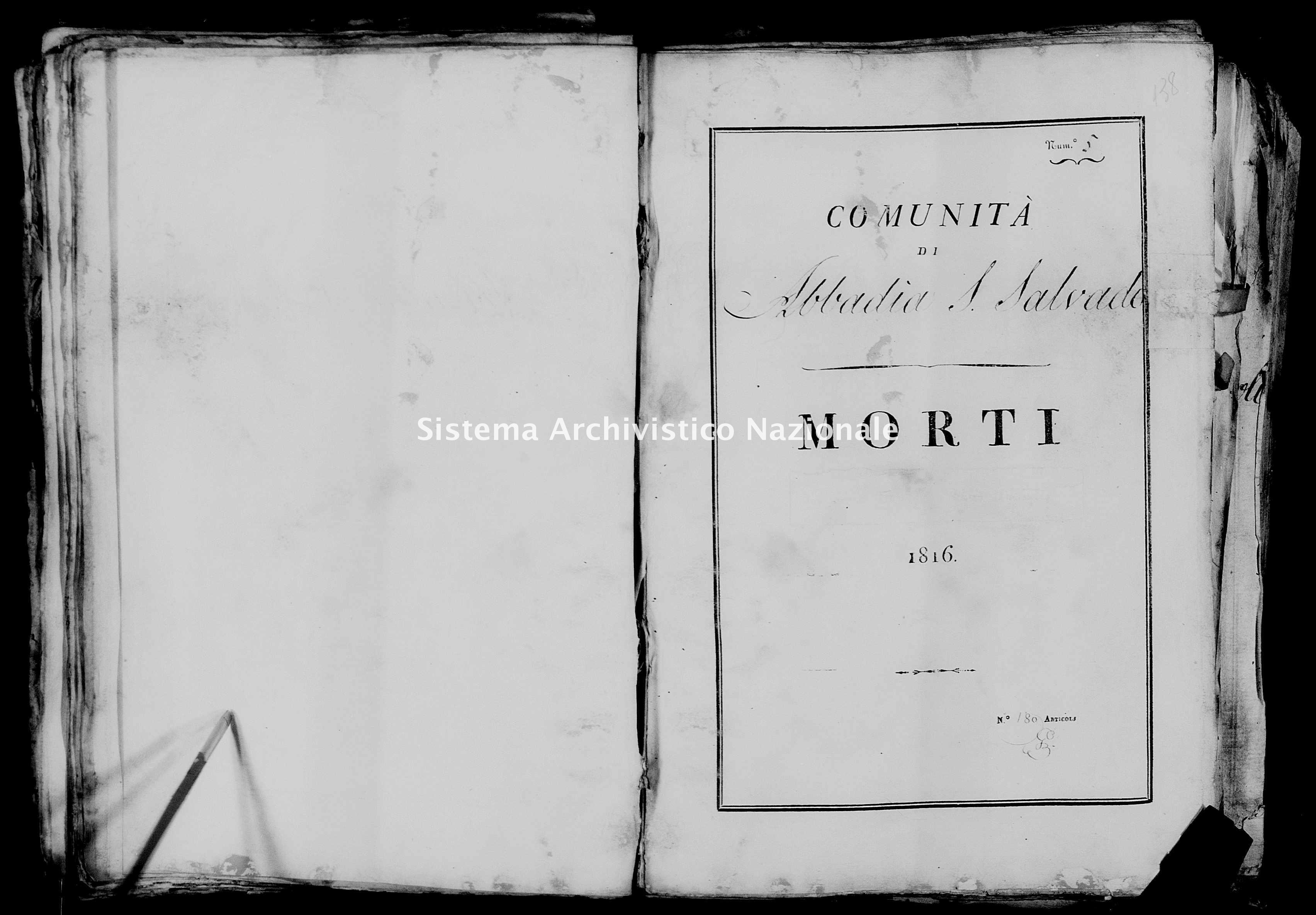 Archivio di stato di Firenze - Stato civile della restaurazione - Abbadia San Salvatore - Morti - 1816 - 22 -