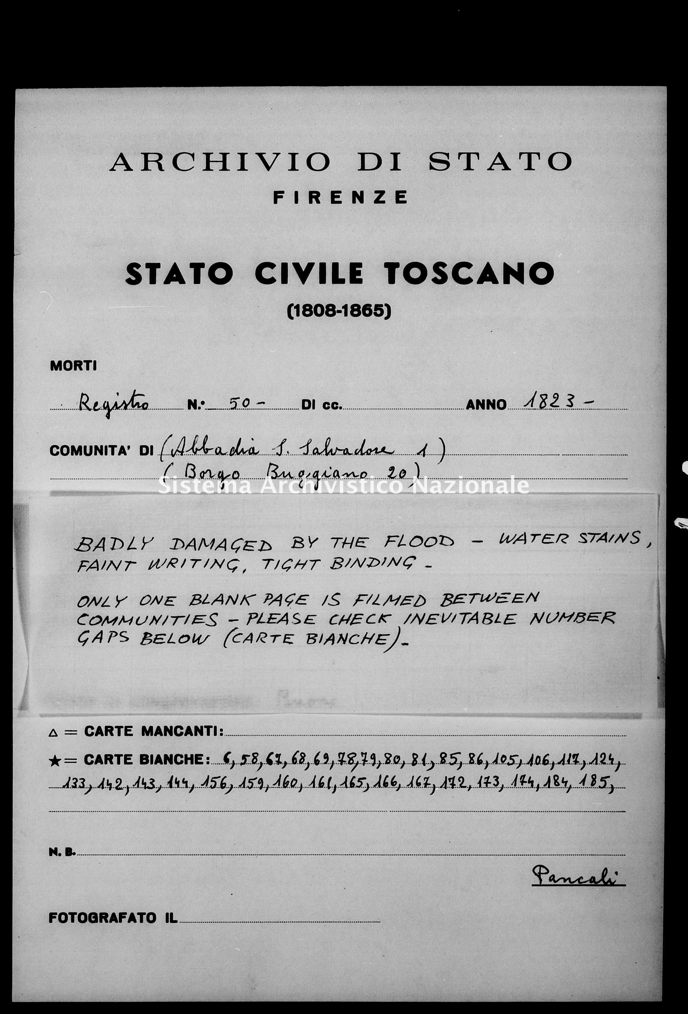Archivio di stato di Firenze - Stato civile della restaurazione - Abbadia San Salvatore - Morti - 1823 - 50 -