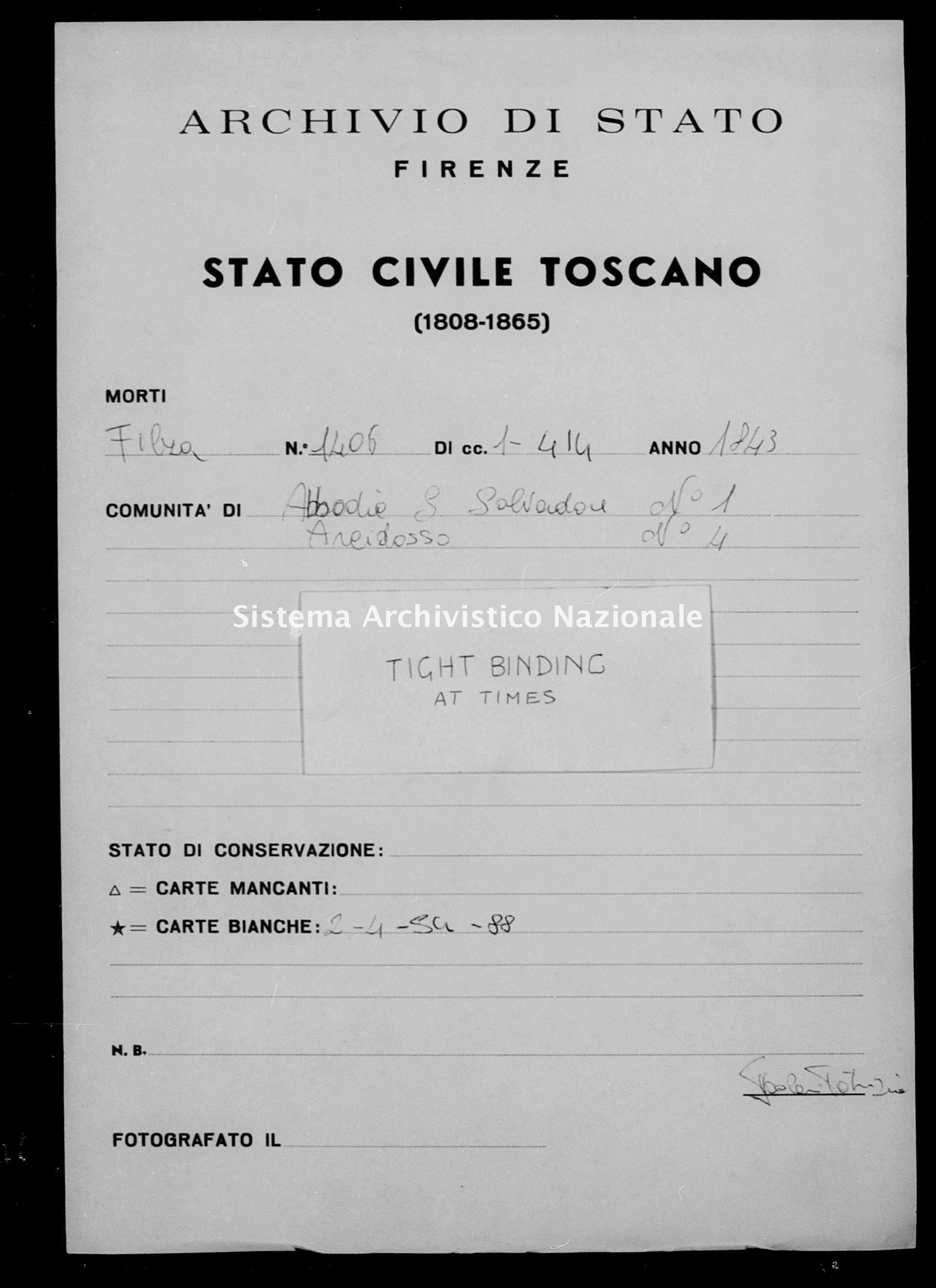 Archivio di stato di Firenze - Stato civile della restaurazione - Abbadia San Salvatore - Morti - 1843 - 1406 -