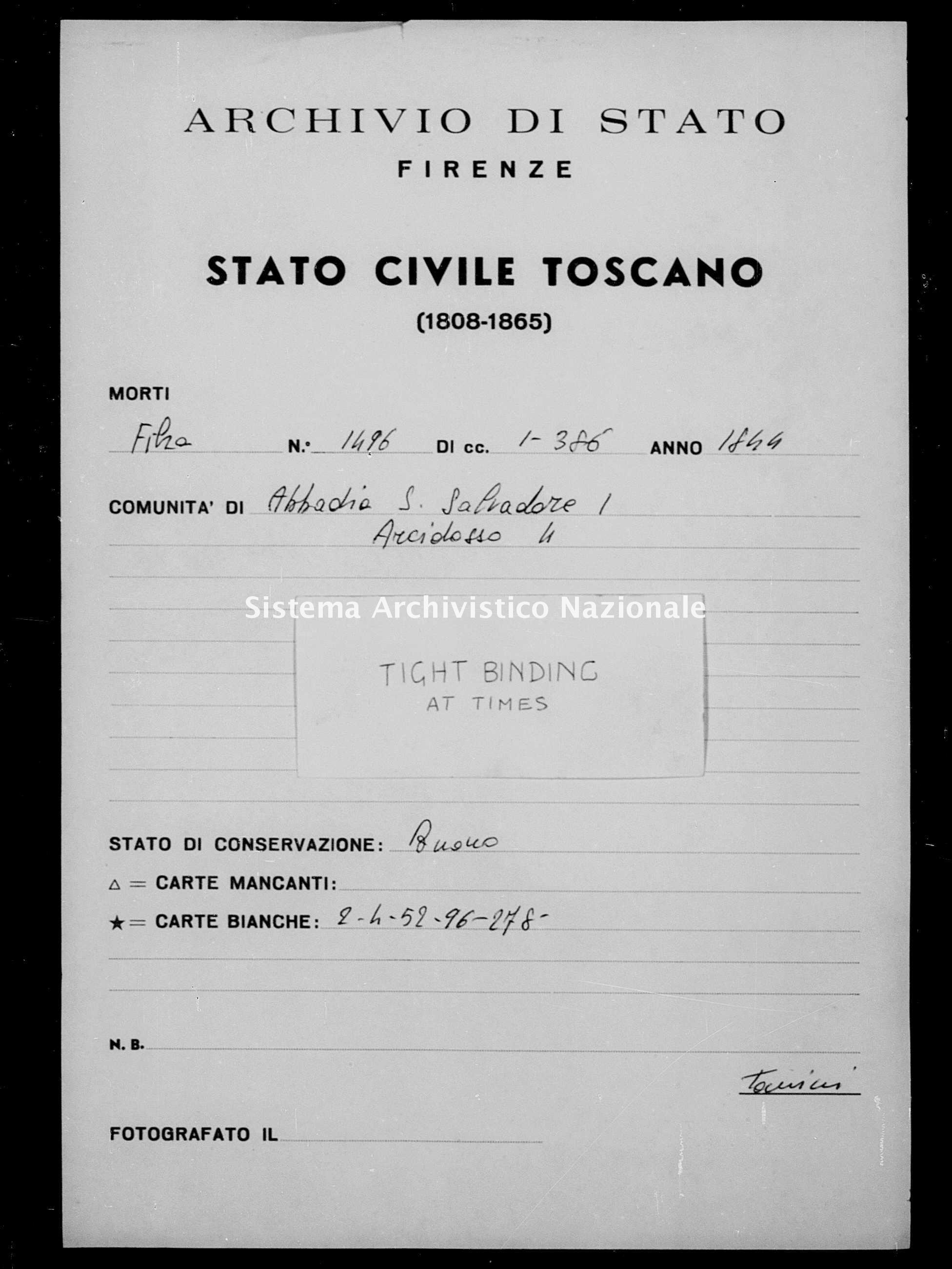 Archivio di stato di Firenze - Stato civile della restaurazione - Abbadia San Salvatore - Morti - 1845 - 1496 -