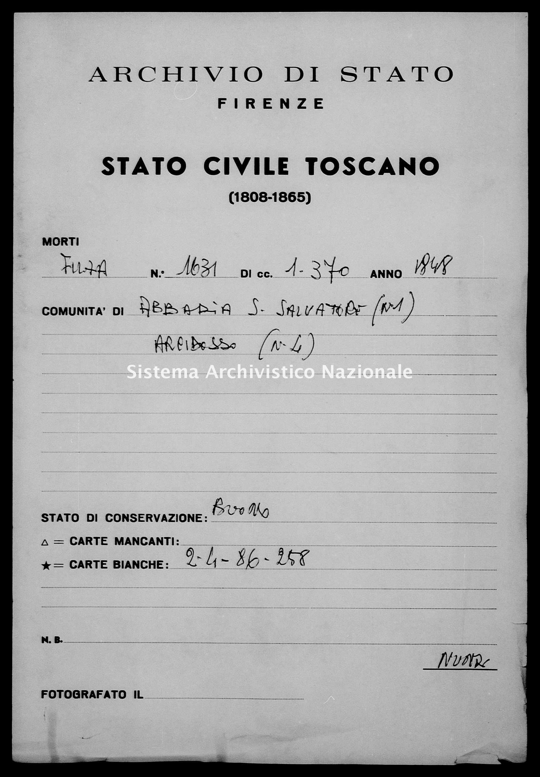 Archivio di stato di Firenze - Stato civile della restaurazione - Abbadia San Salvatore - Morti - 1848 - 1631 -