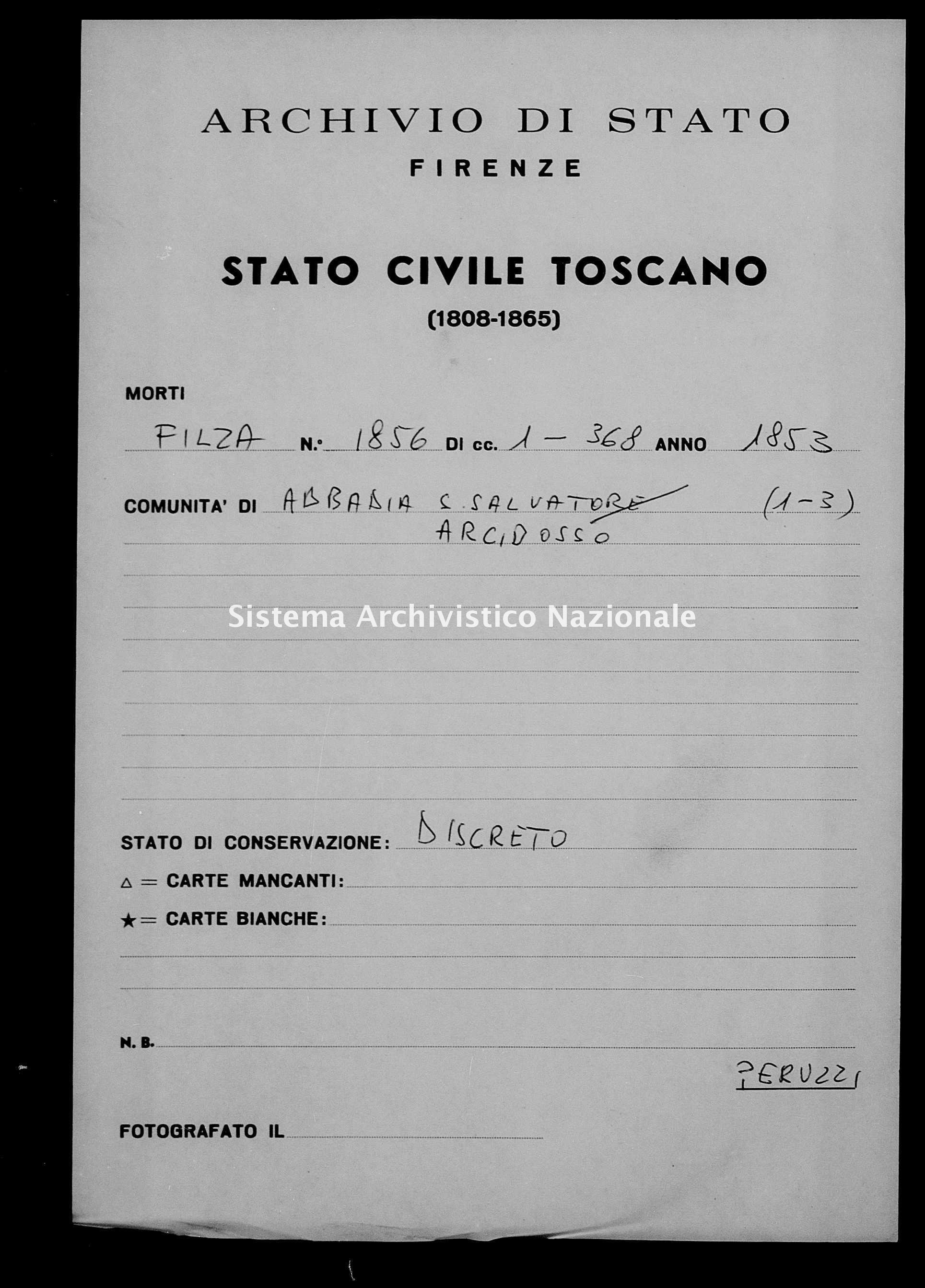 Archivio di stato di Firenze - Stato civile della restaurazione - Abbadia San Salvatore - Morti - 1853 - 1856 -