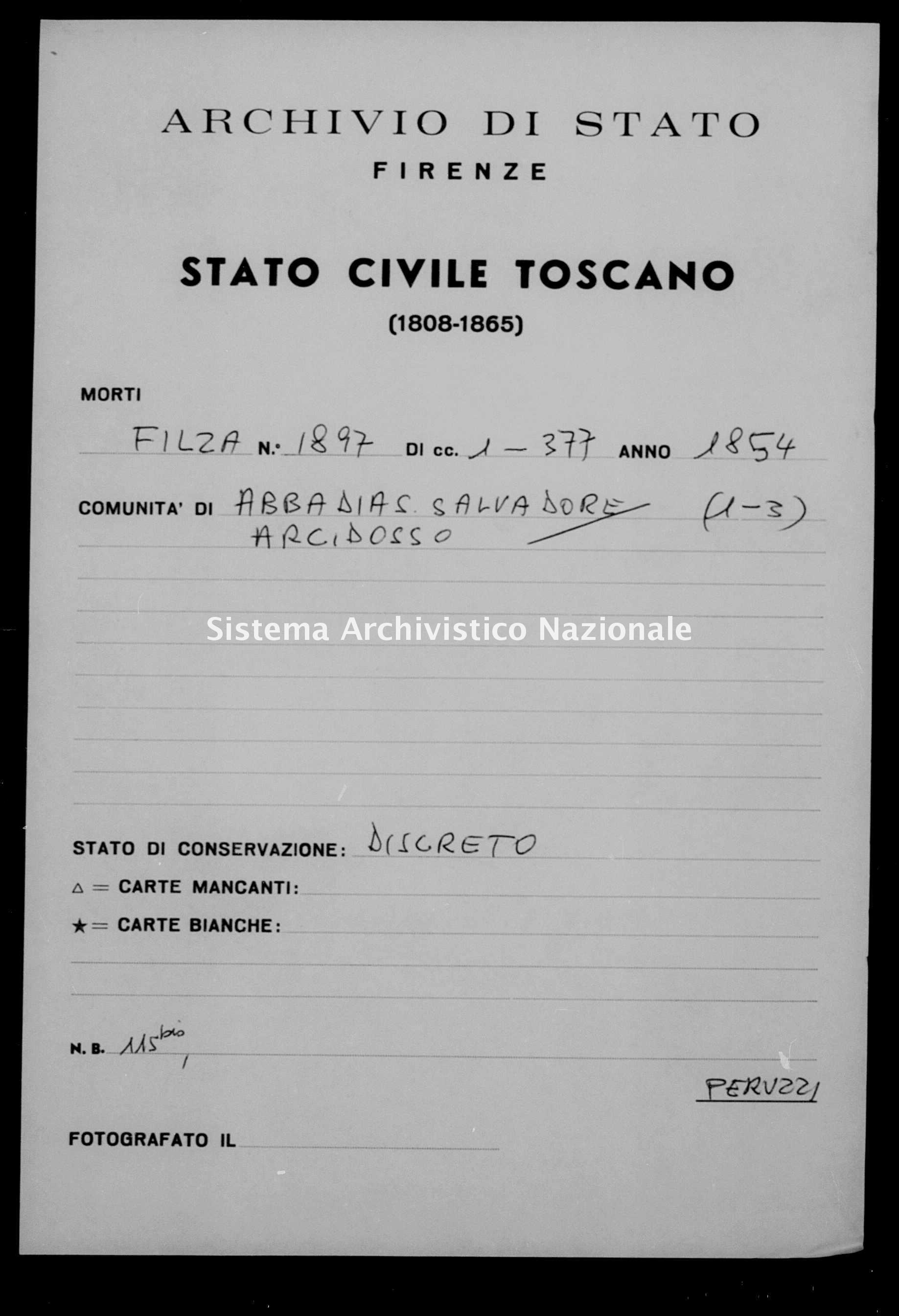 Archivio di stato di Firenze - Stato civile della restaurazione - Abbadia San Salvatore - Morti - 1854 - 1897 -