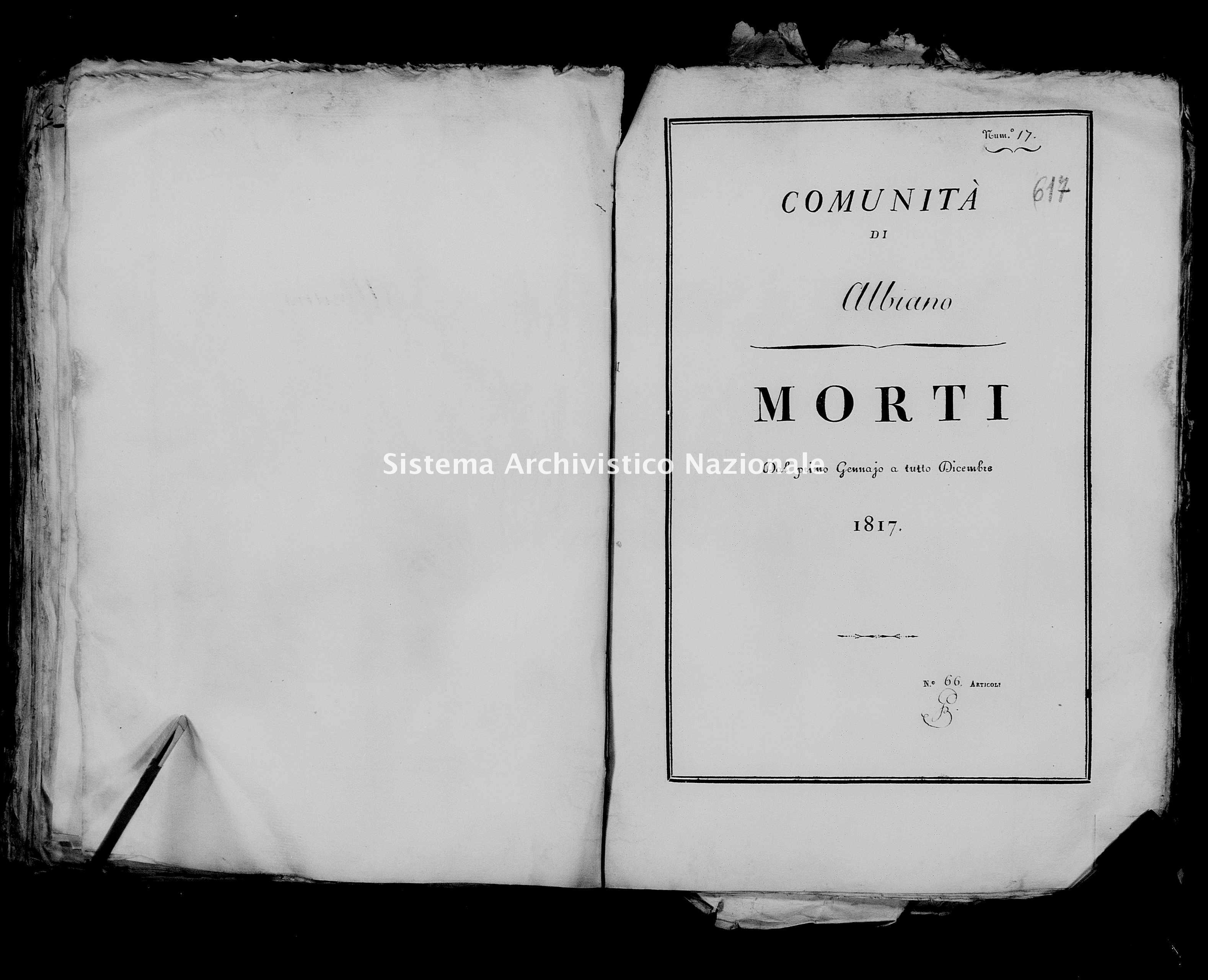 Archivio di stato di Firenze - Stato civile della restaurazione - Albiano - Morti - 1817 - 48 -